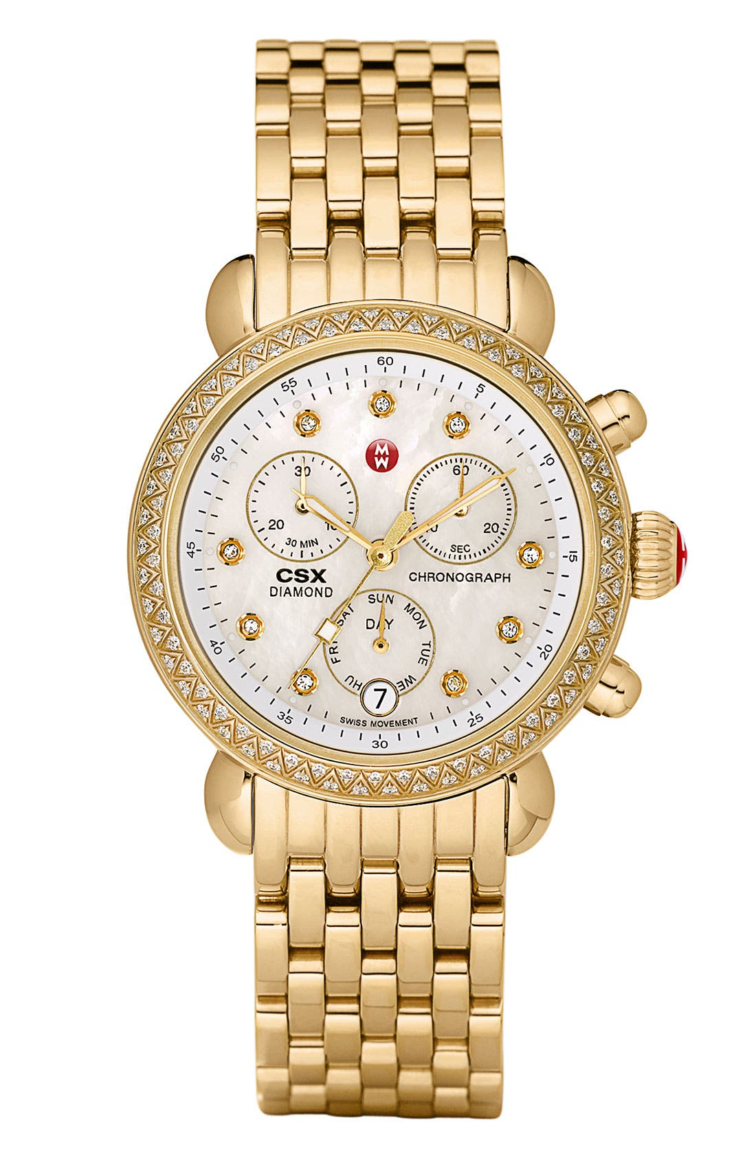 Alternate Image 2  - MICHELE 'CSX-36 Diamond' Diamond Dial Gold Plated Watch Case, 36mm