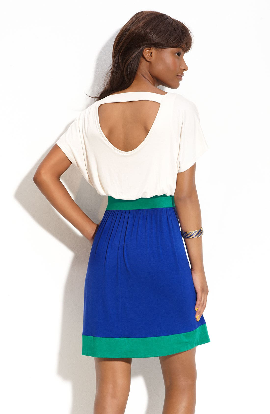 Alternate Image 2  - Lush Open Back Colorblock Dress (Juniors)