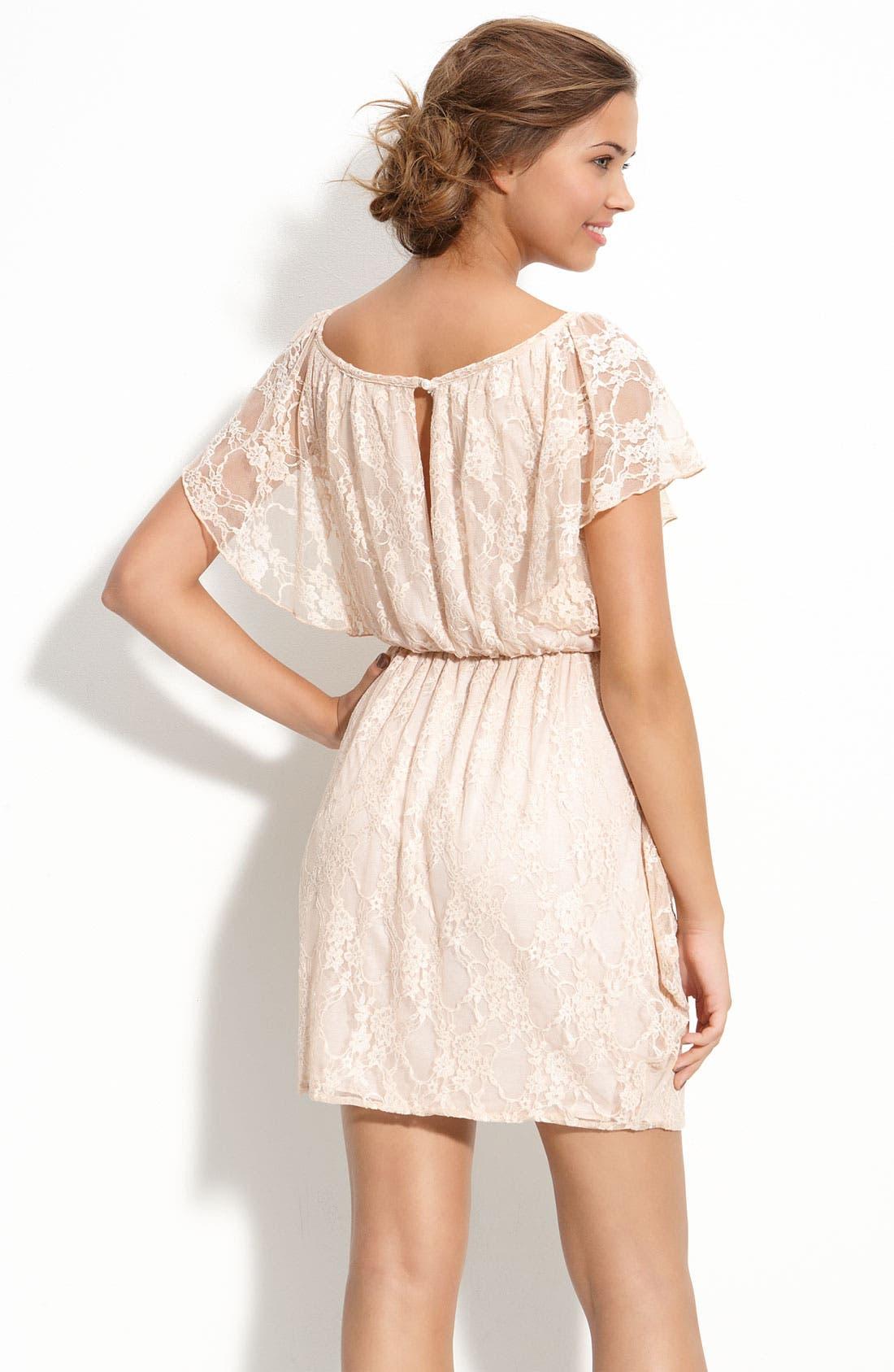 Alternate Image 2  - Velvet Torch Draped Lace Dress (Juniors)