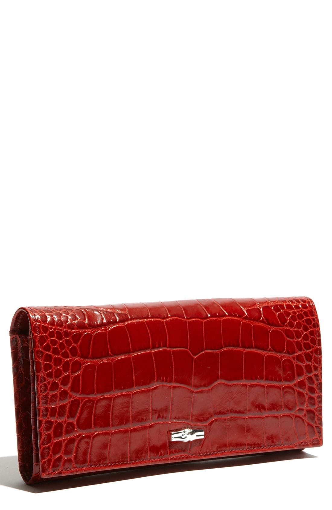 Main Image - Longchamp 'Roseau' Croc Embossed Wallet