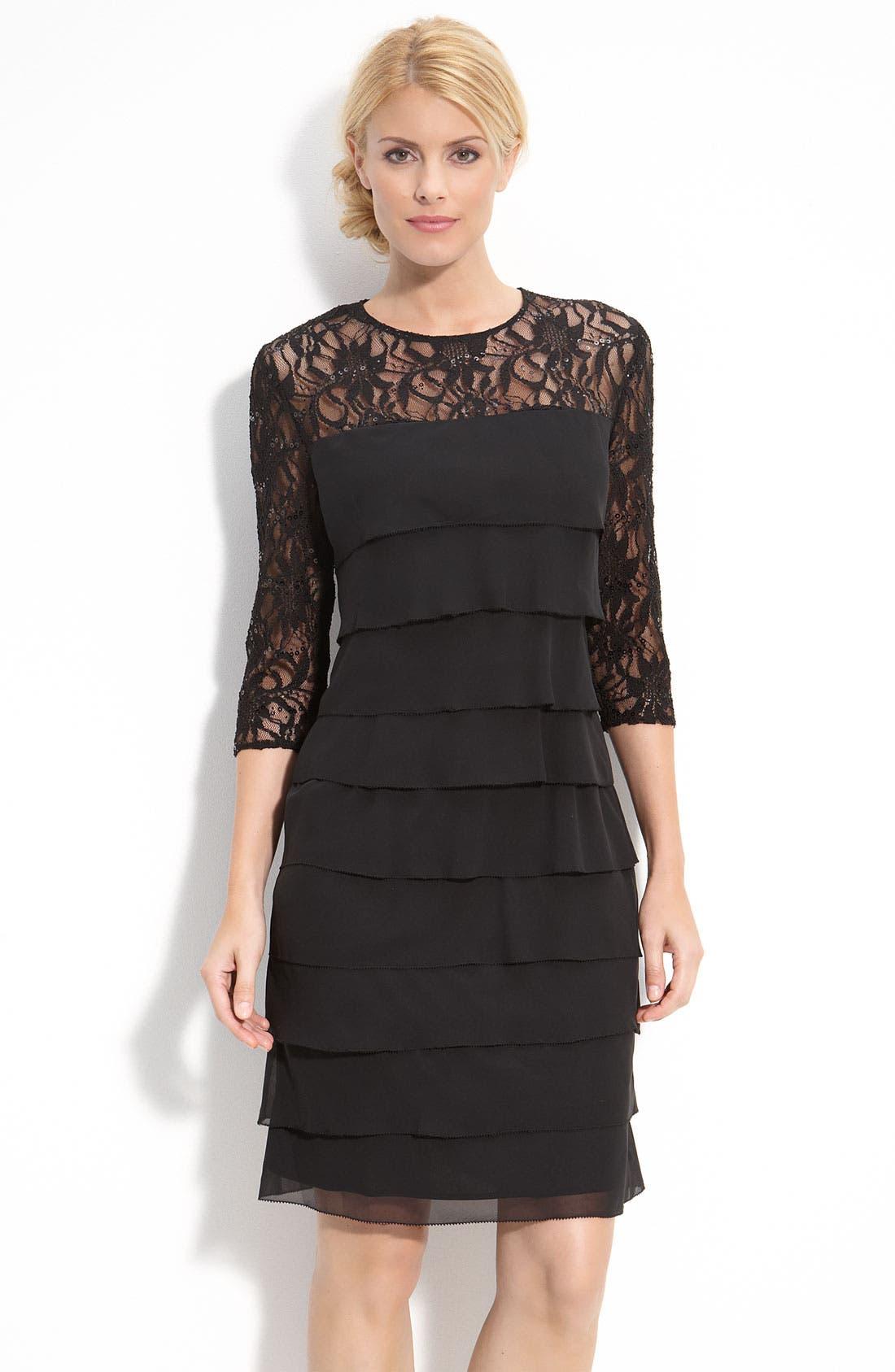 Alternate Image 1 Selected - Alex Evenings Tiered Chiffon & Lace Sheath Dress (Regular & Petite)