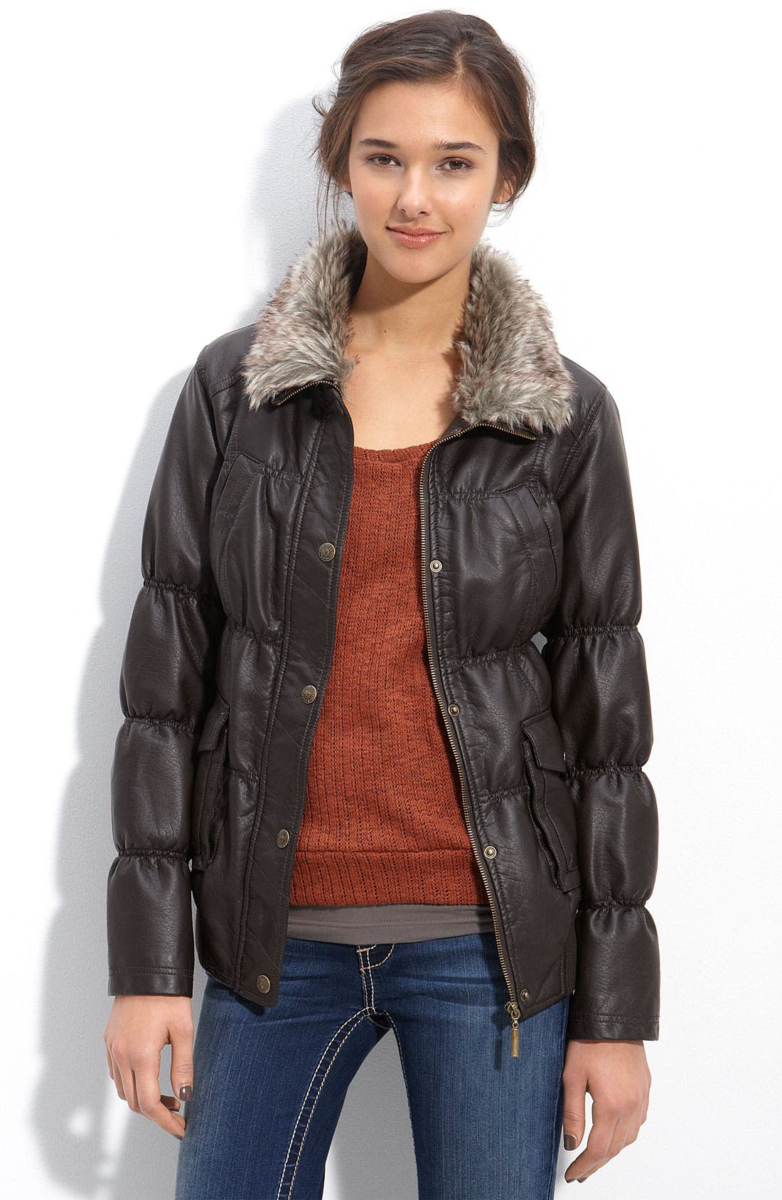 Alternate Image 1 Selected - Dollhouse Faux Leather Puffer Jacket with Faux Fur Collar (Juniors)