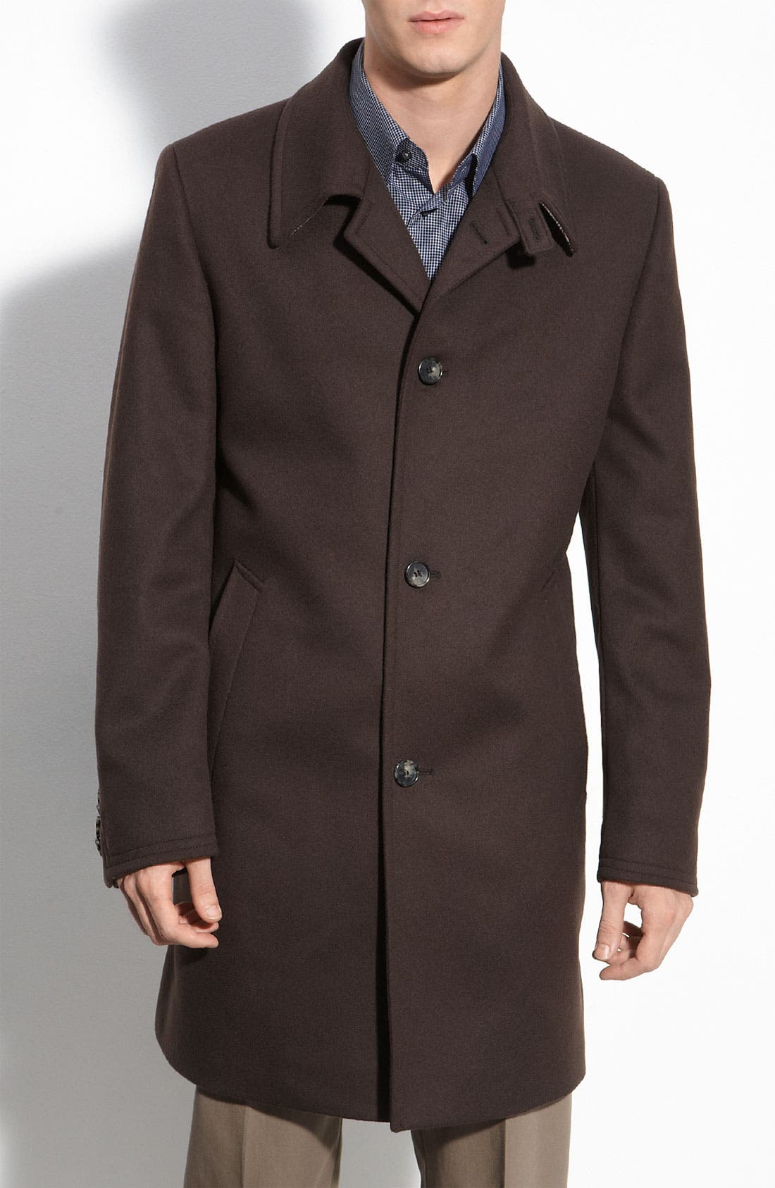 Main Image - BOSS Black 'Task' Brown Wool Coat
