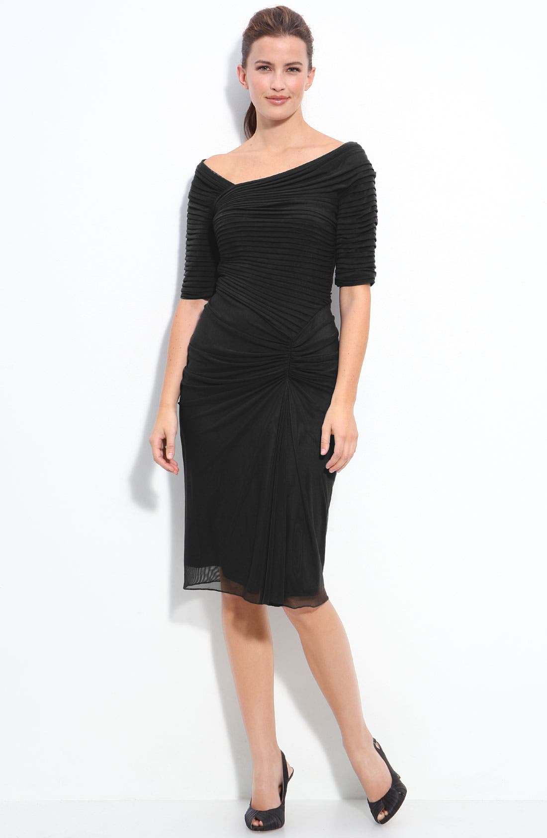 Alternate Image 3  - Tadashi Shoji Asymmetrical Ruched Mesh Dress