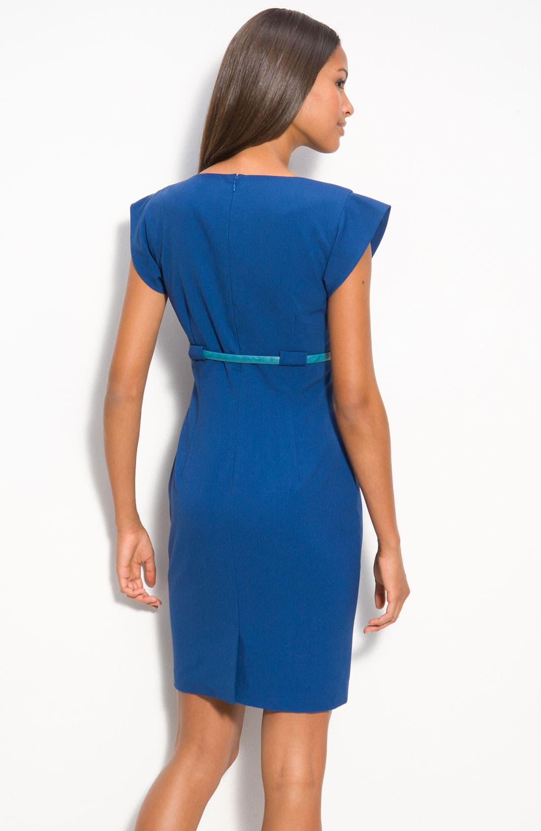 Alternate Image 2  - Calvin Klein Belted Surplice Sheath Dress