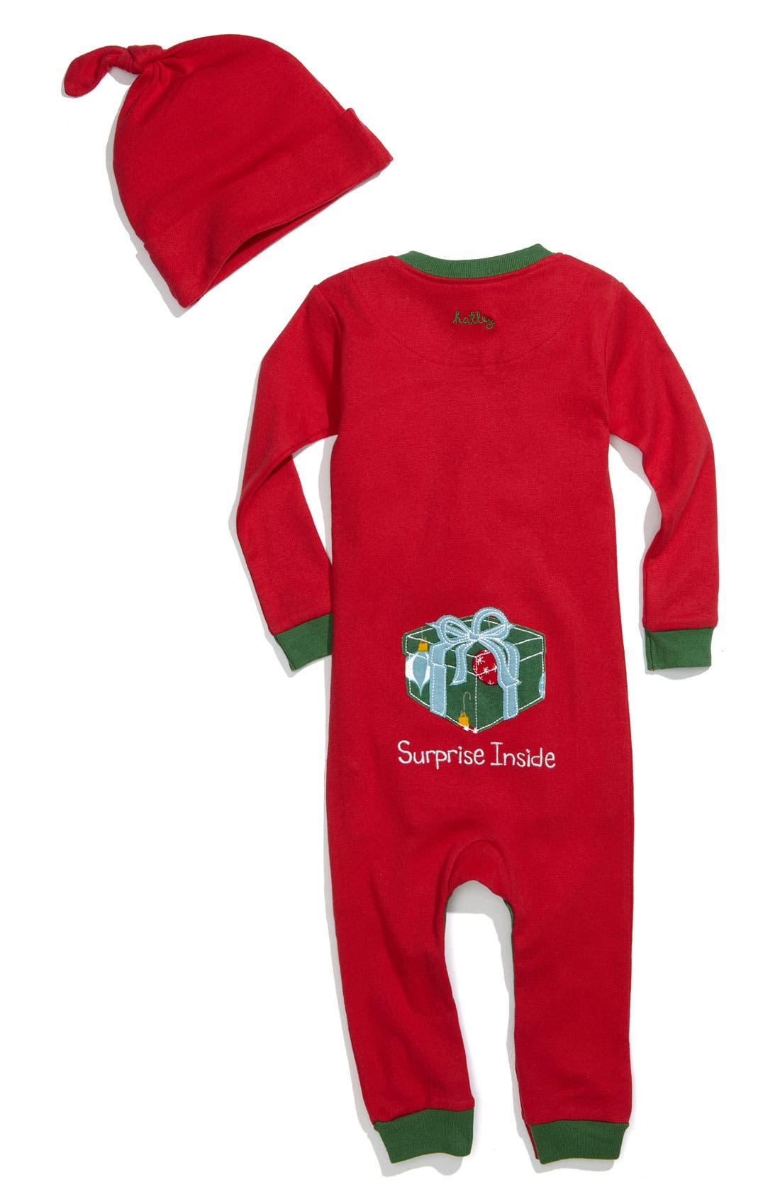 Alternate Image 2  - Hatley Fitted Romper & Hat Set (Infant)