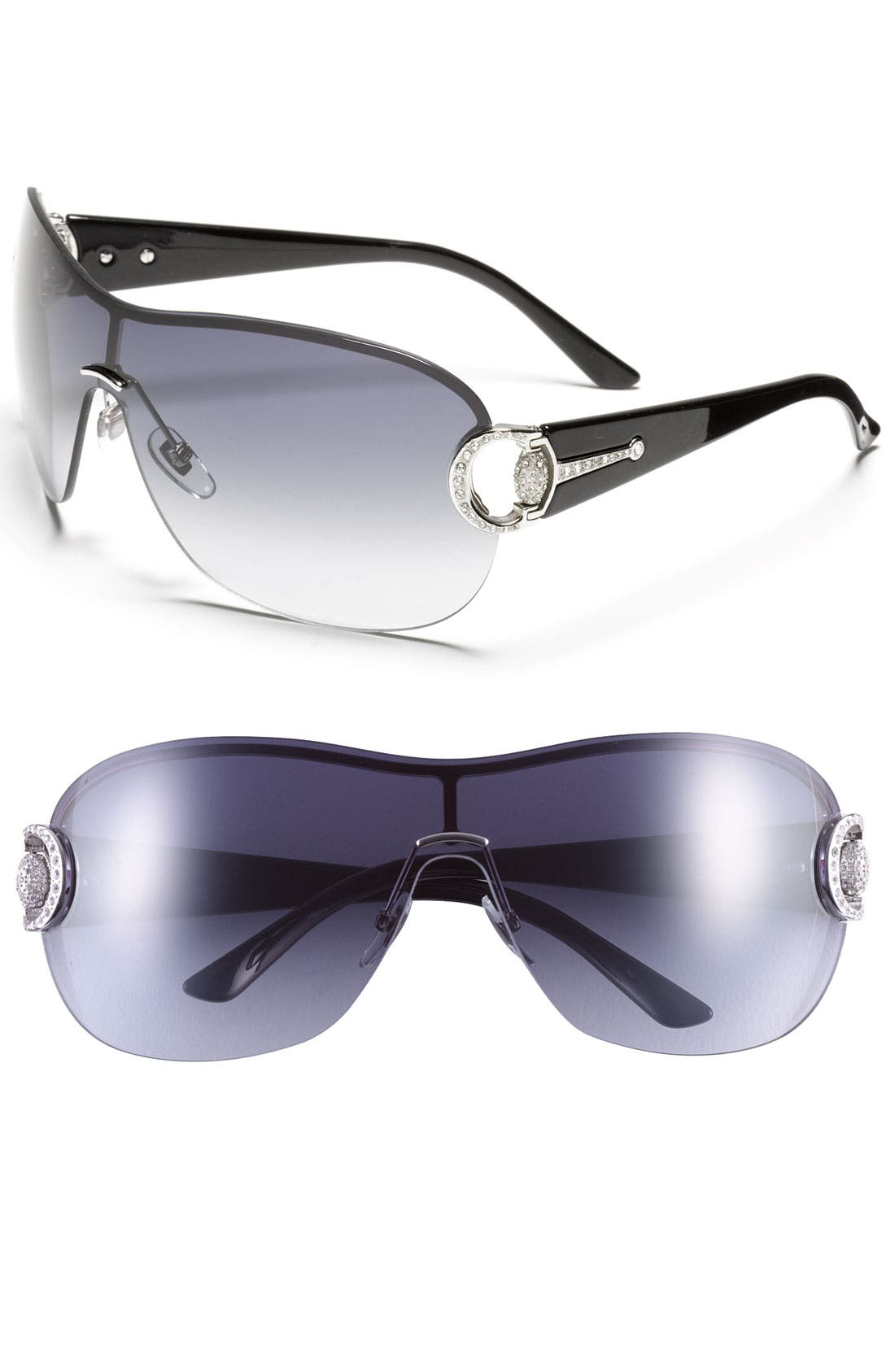 Alternate Image 1 Selected - Gucci Crystal Encrusted Shield Sunglasses