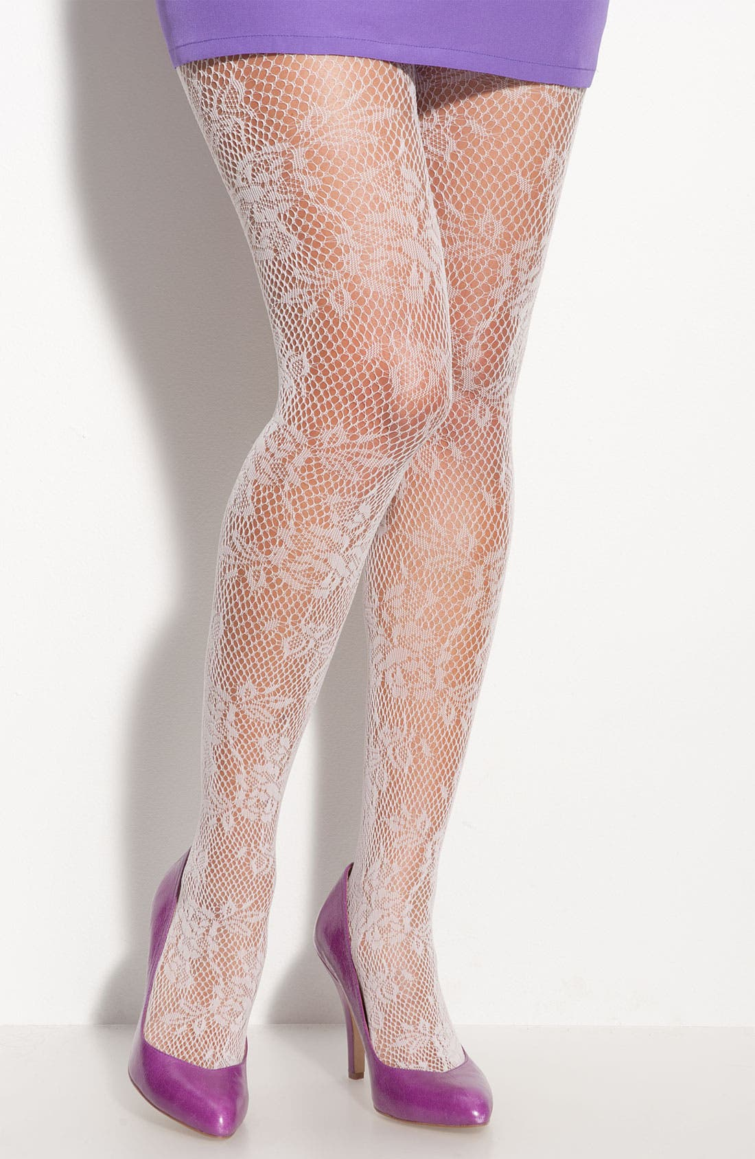 Main Image - Hue 'Rose Floral' Fishnet Stockings (2 for $22)