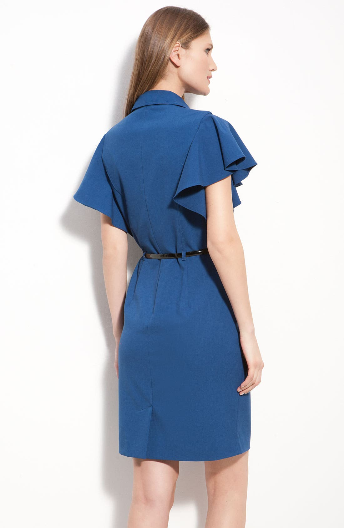 Alternate Image 2  - Calvin Klein Belted Flutter Sleeve Shirtdress