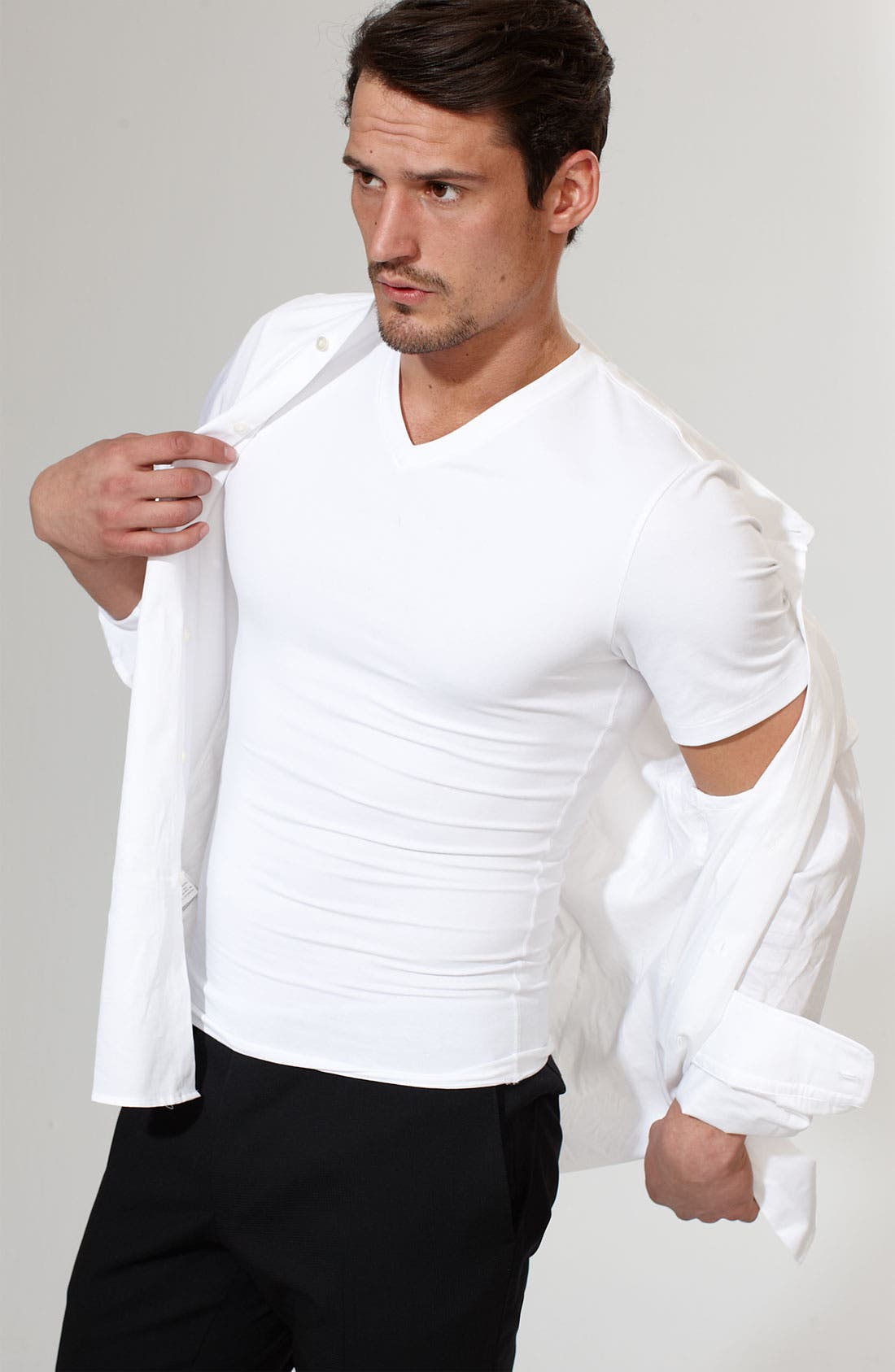 Alternate Image 4  - SPANX® Cotton Control V-Neck T-Shirt