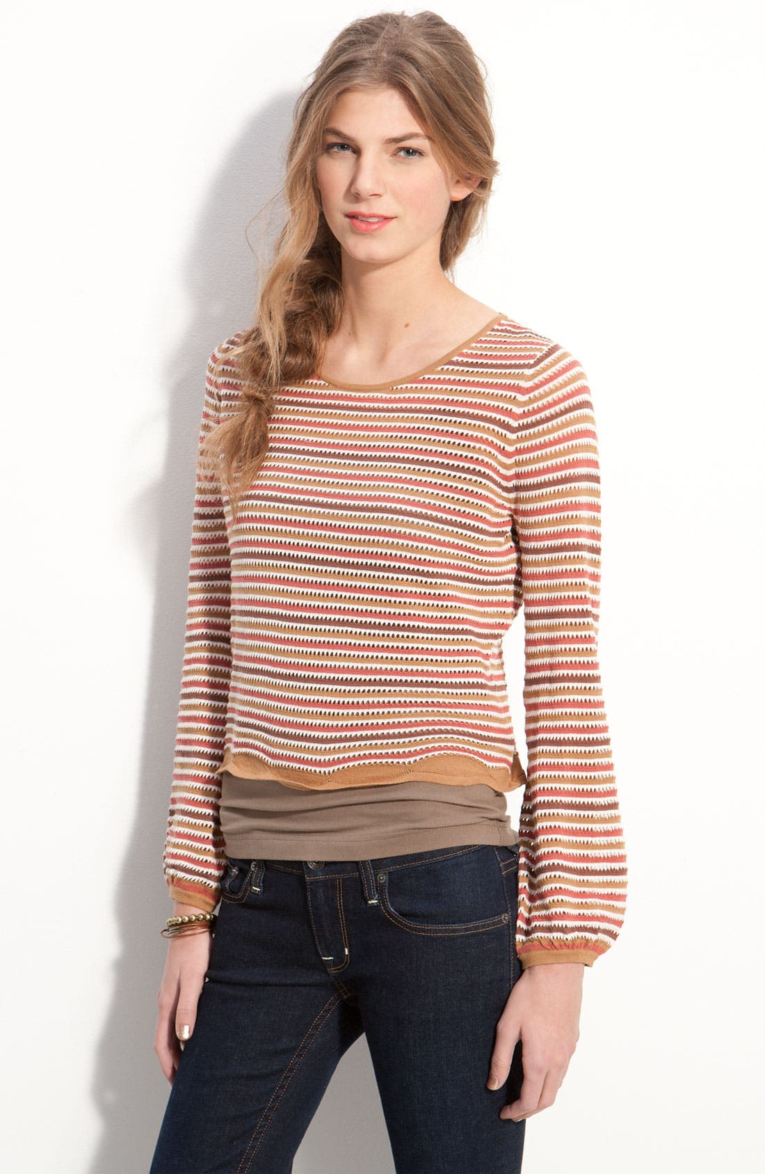 Alternate Image 1 Selected - Frenchi® Stripe Pointelle Cotton Top (Juniors)