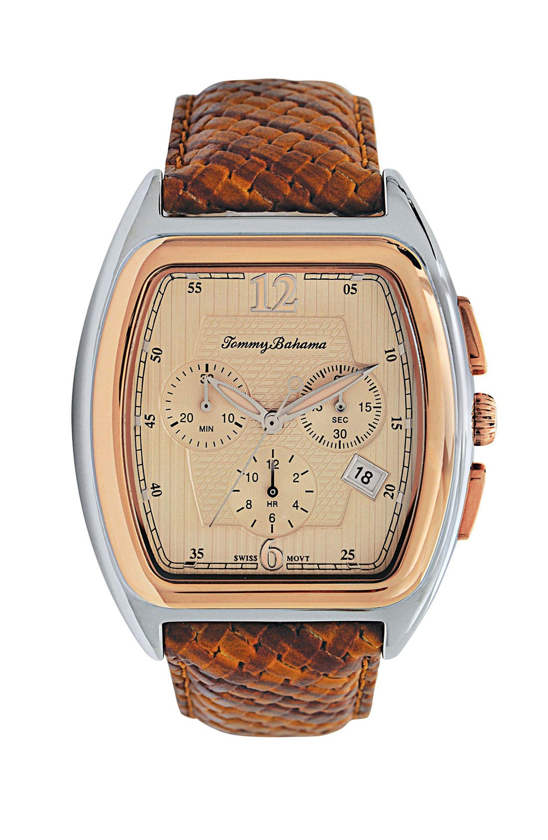 Alternate Image 1 Selected - Tommy Bahama 'Palms' Leather Strap Watch