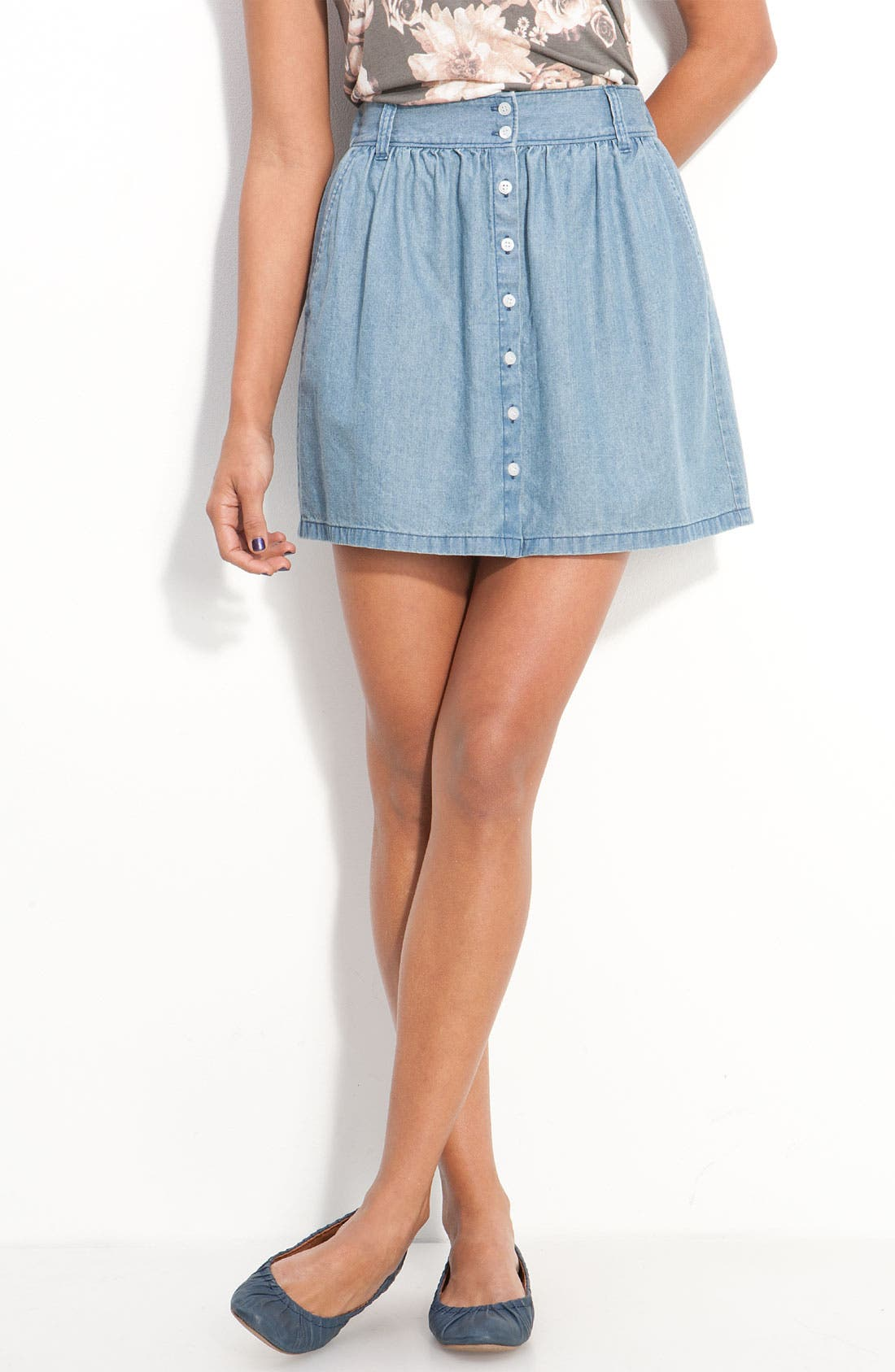 Main Image - Frenchi® Button Front Chambray Skirt (Juniors)