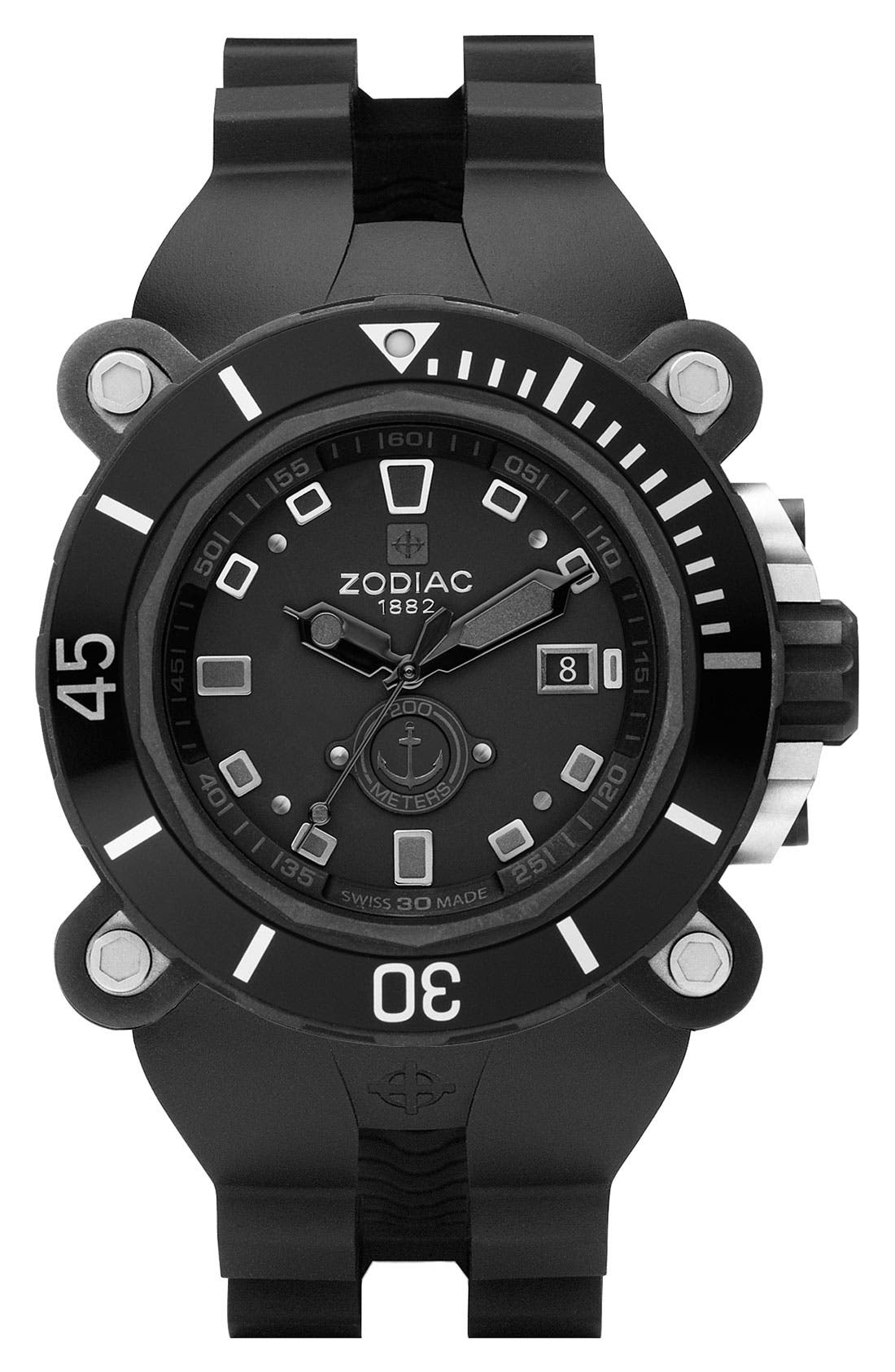 Alternate Image 1 Selected - Zodiac Round Diver Watch with Rubber Strap