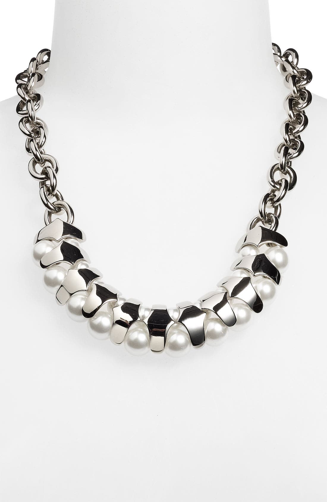 Alternate Image 1 Selected - St. John Collection Faux Pearl & Chain Link Necklace