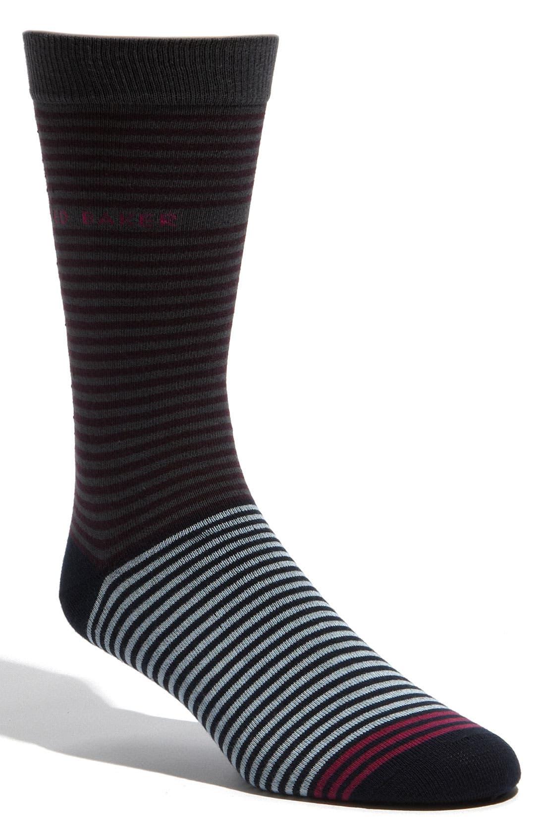 Alternate Image 1 Selected - Ted Baker London Two Tone Stripe Socks (3 for $40)