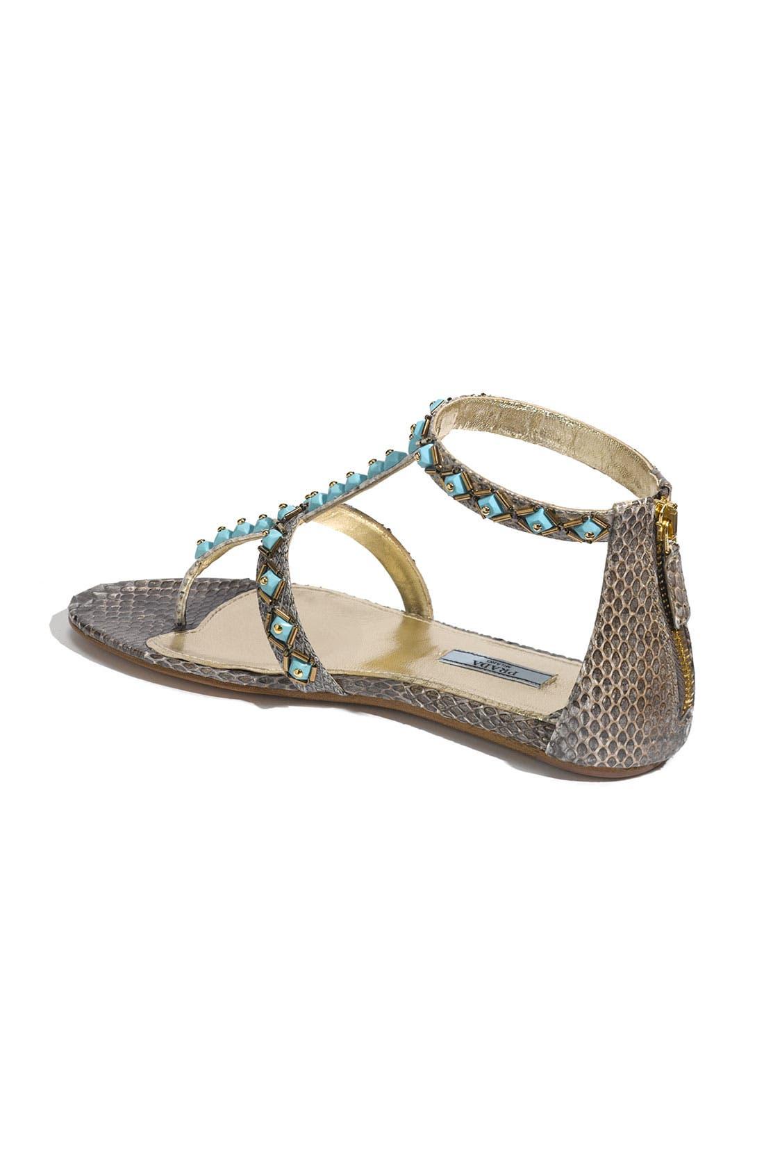 Alternate Image 2  - Prada Faux Turquoise Trim Genuine Snakeskin Sandal
