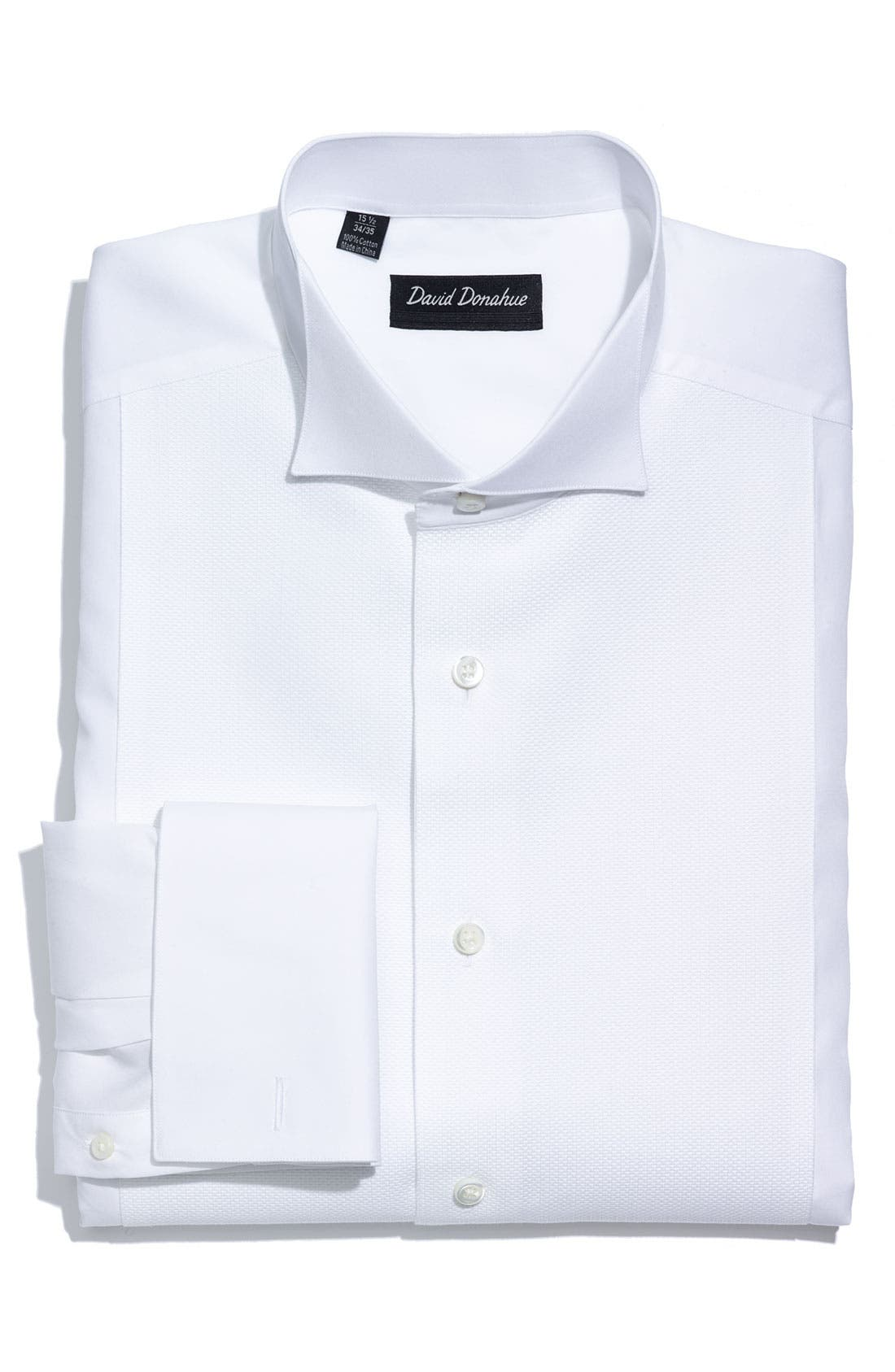 Main Image - David Donahue Regular Fit Bib Front French Cuff Tuxedo Shirt