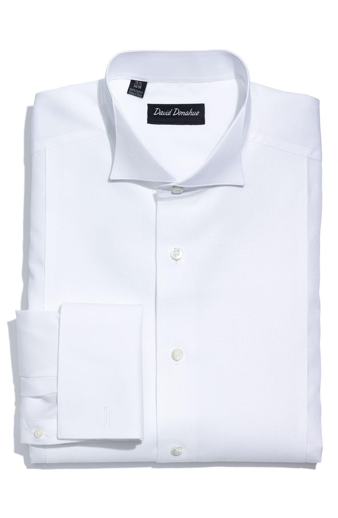 David Donahue Regular Fit Bib Front French Cuff Tuxedo Shirt