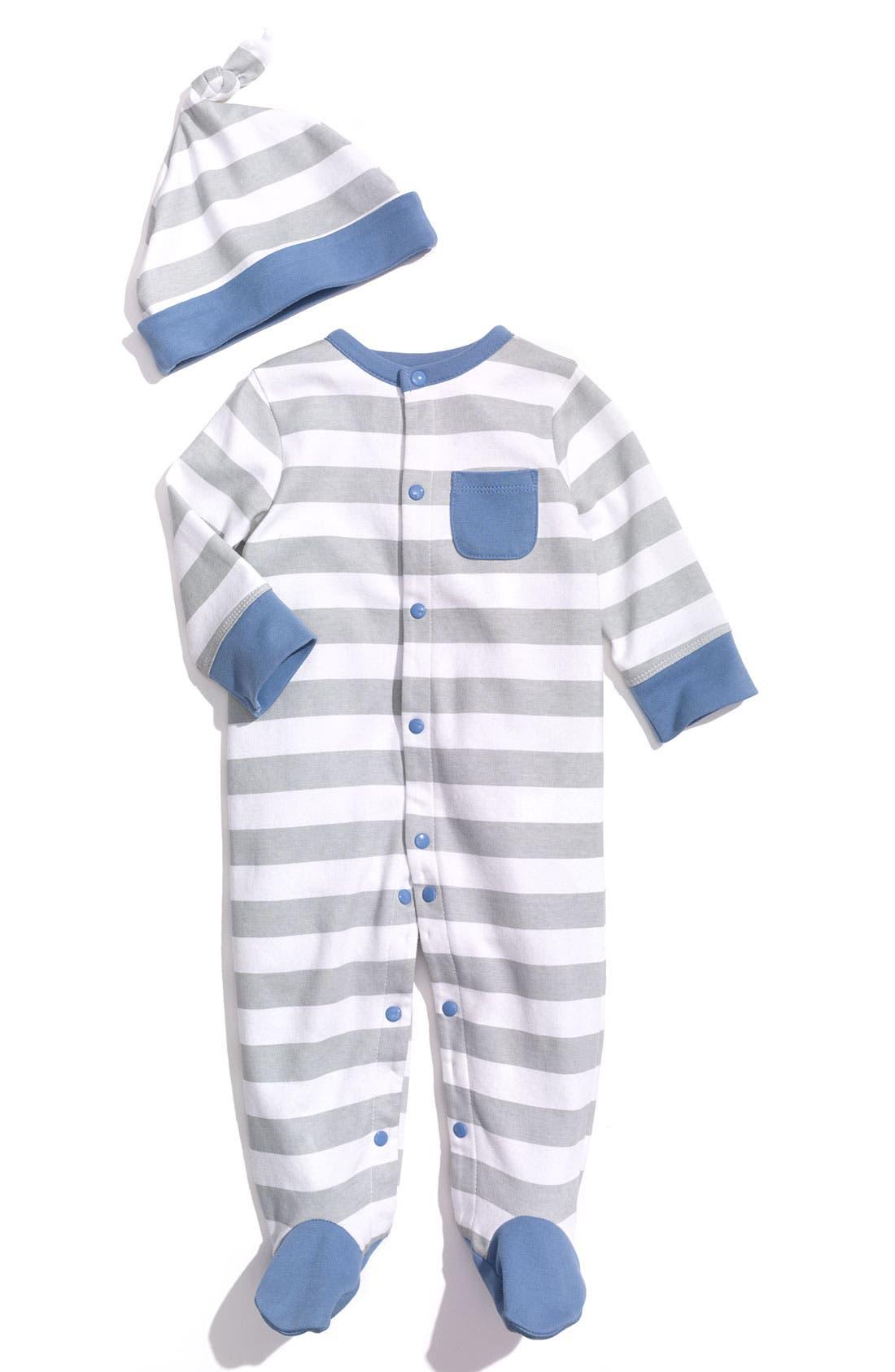 Main Image - Offspring Stripe Footie & Hat Set (Infant)