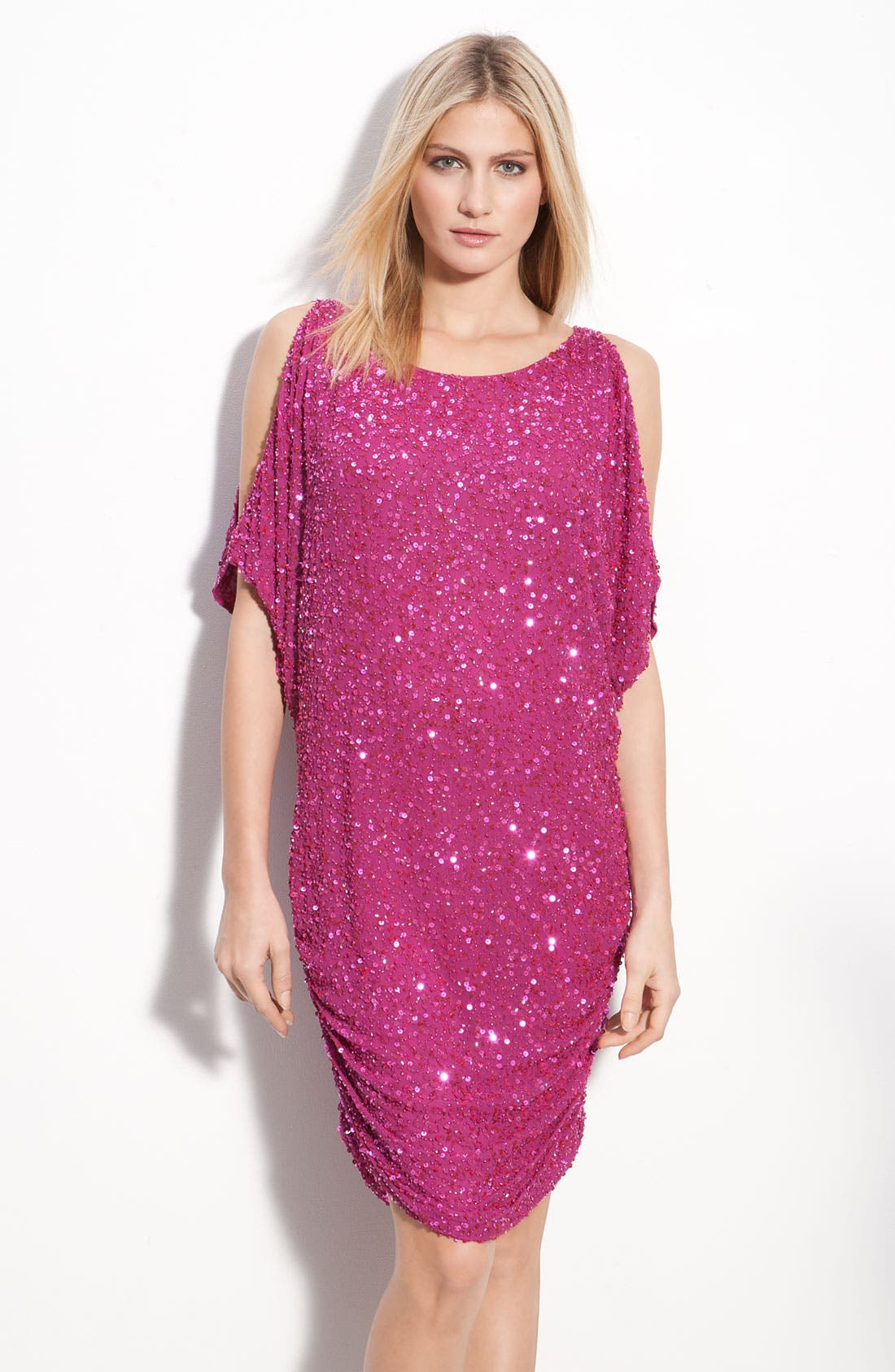 Main Image - Aidan Mattox Shirred Hem Sequin Cold Shoulder Dress