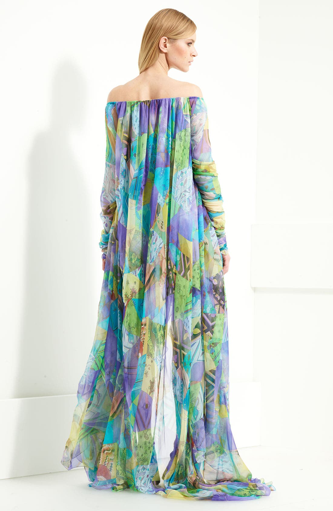 Alternate Image 2  - Emilio Pucci Patchwork Print Chiffon Gown