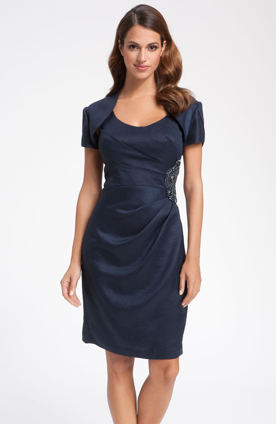 Main Image - Adrianna Papell Metallic Crepe Sheath Dress & Bolero