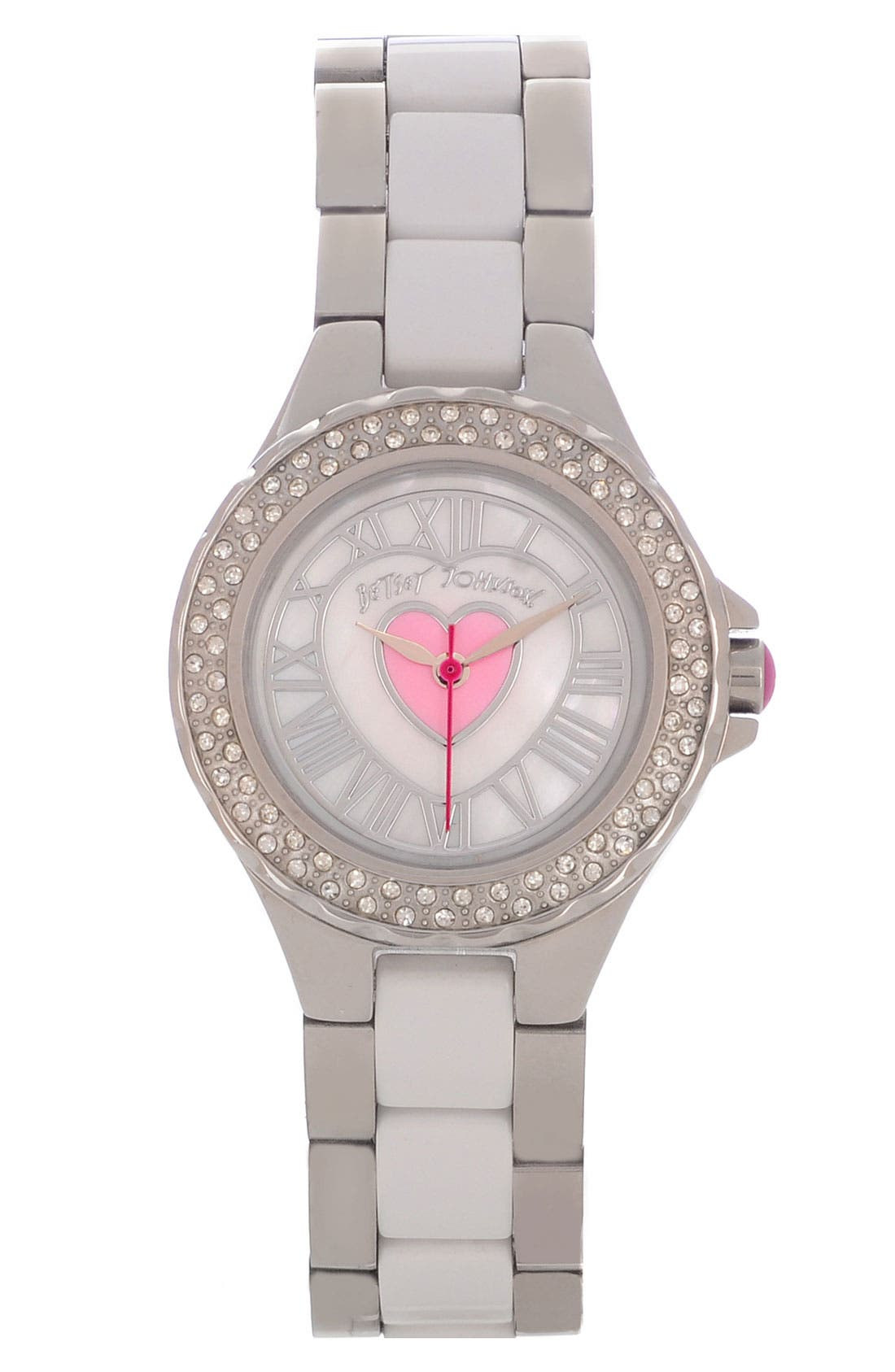 Main Image - Betsey Johnson Heart Detail Two Tone Watch, 27mm