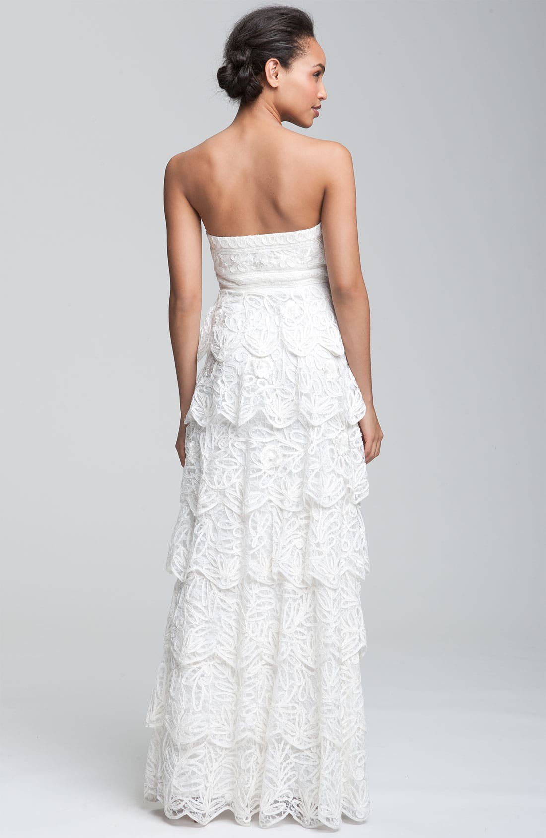 Alternate Image 2  - Sue Wong Tiered Strapless Mesh Gown