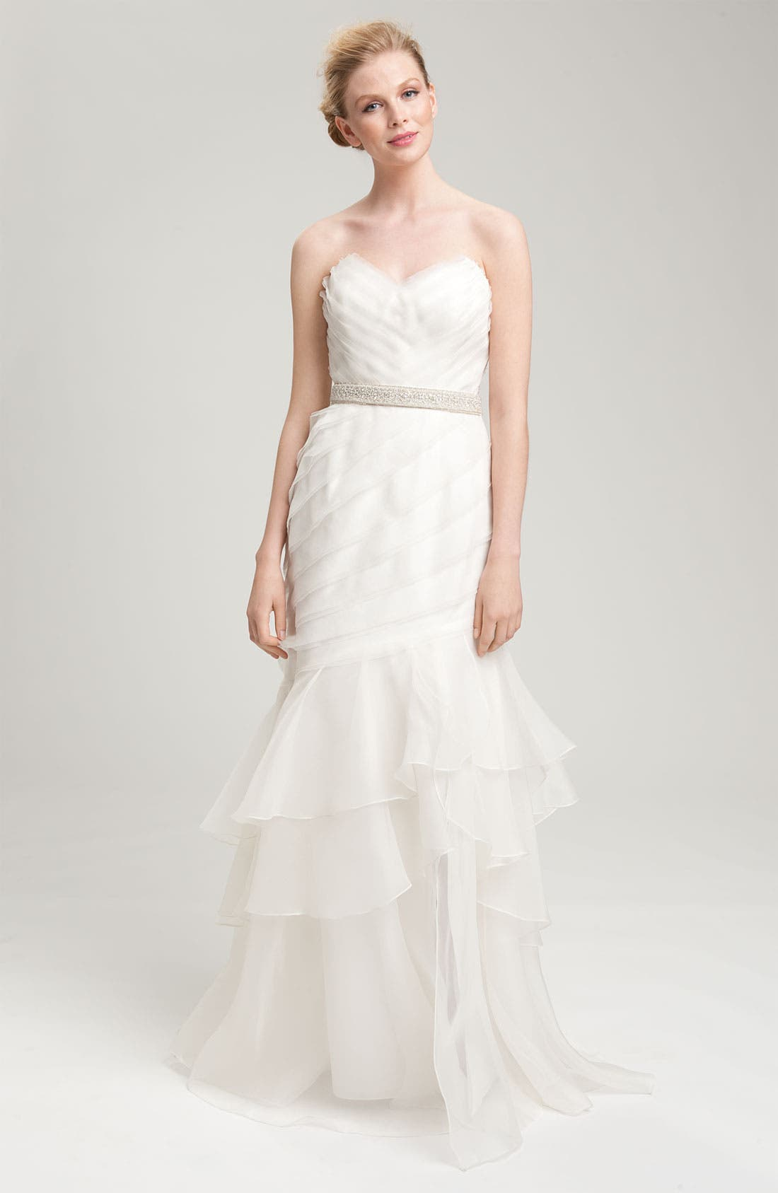 Main Image - Theia Strapless Silk Organza Mermaid Gown
