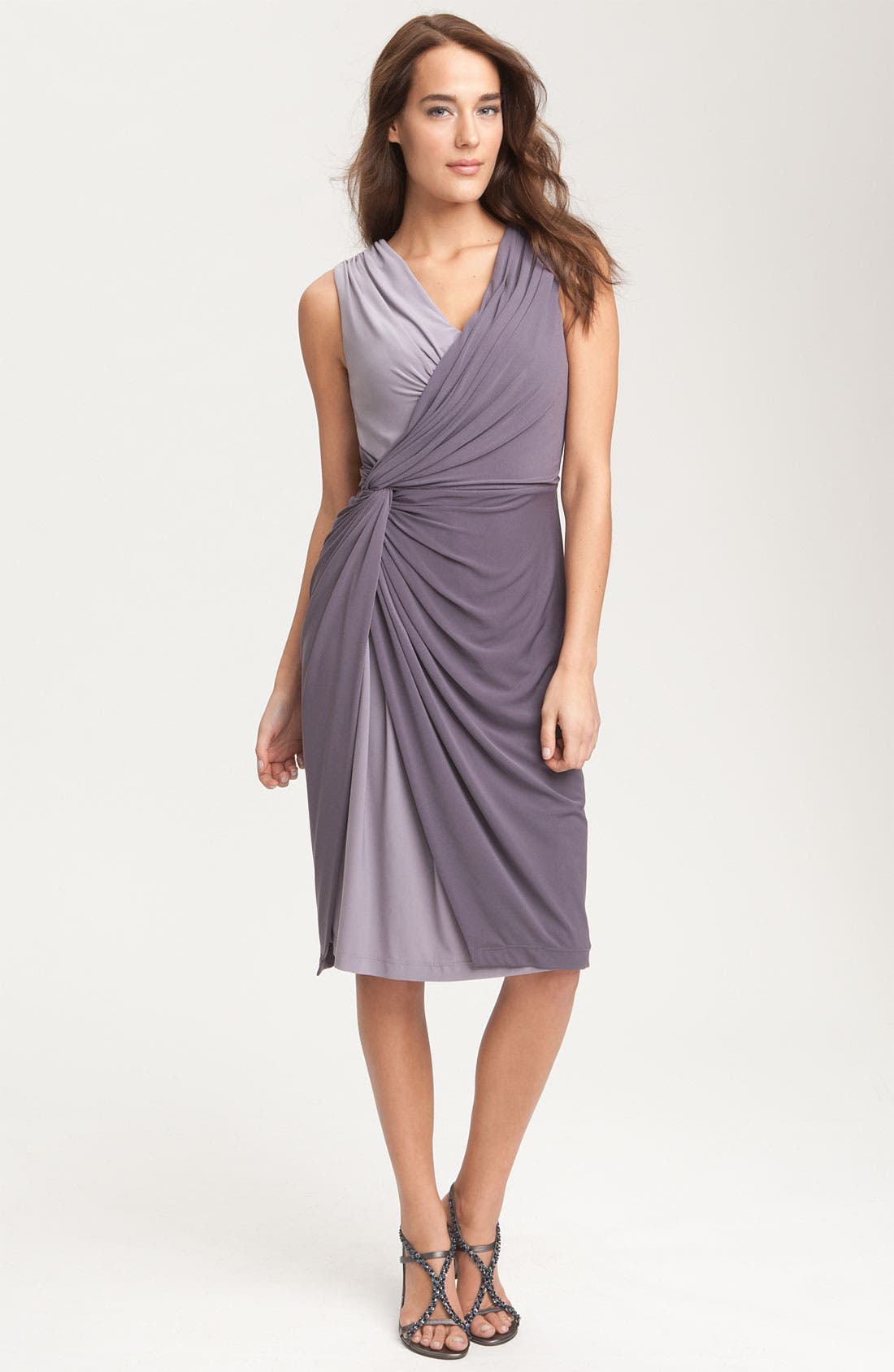 Alternate Image 1 Selected - Adrianna Papell Two Tone Overlay Jersey Dress