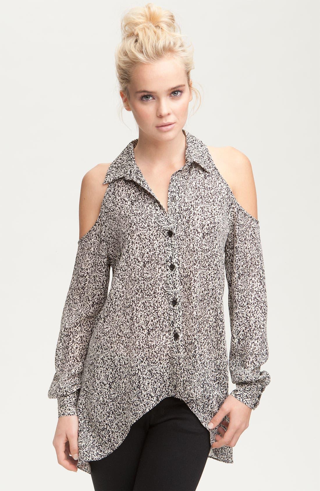 Main Image - Parker Print Silk Cutout Shoulder Shirt