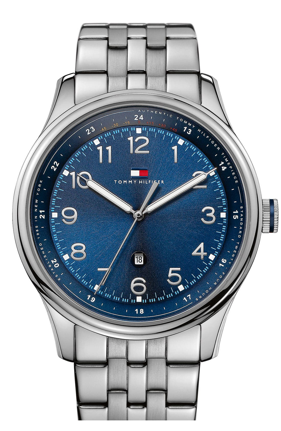 Main Image - Tommy Hilfiger Round Stainless Steel Bracelet Watch, 44mm