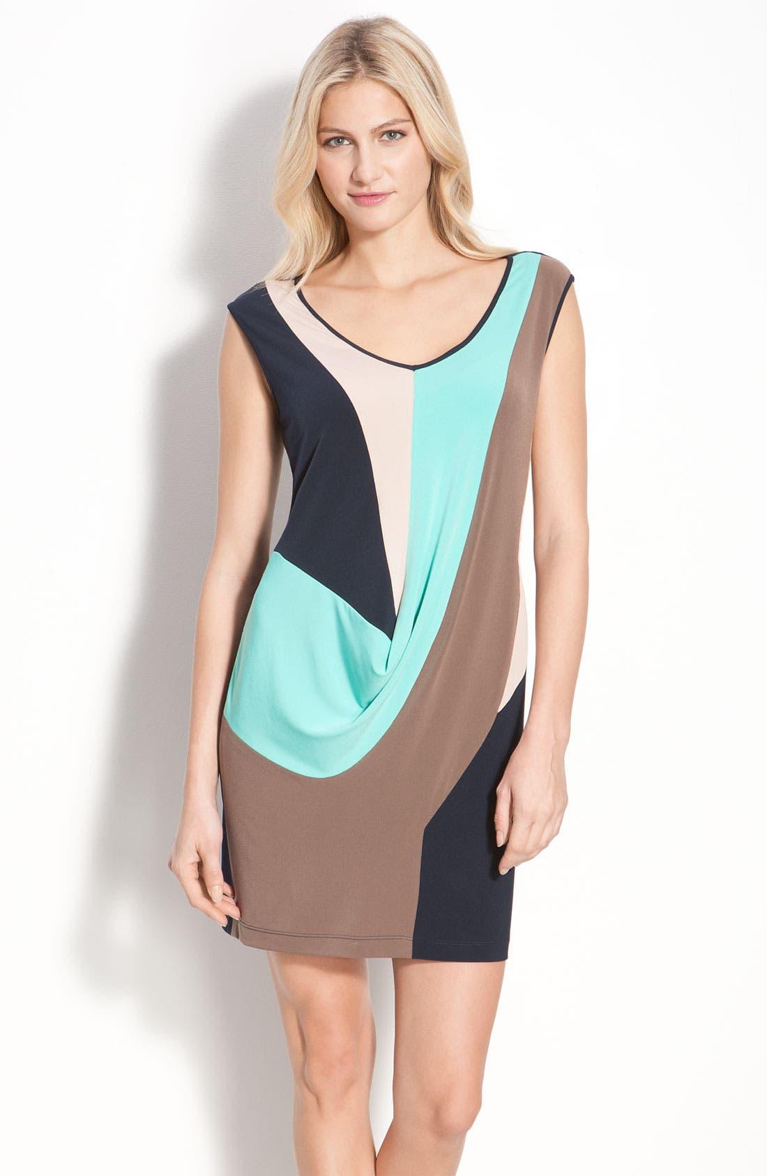 Alternate Image 1 Selected - Suzi Chin for Maggy Boutique Draped Colorblock Sheath Dress