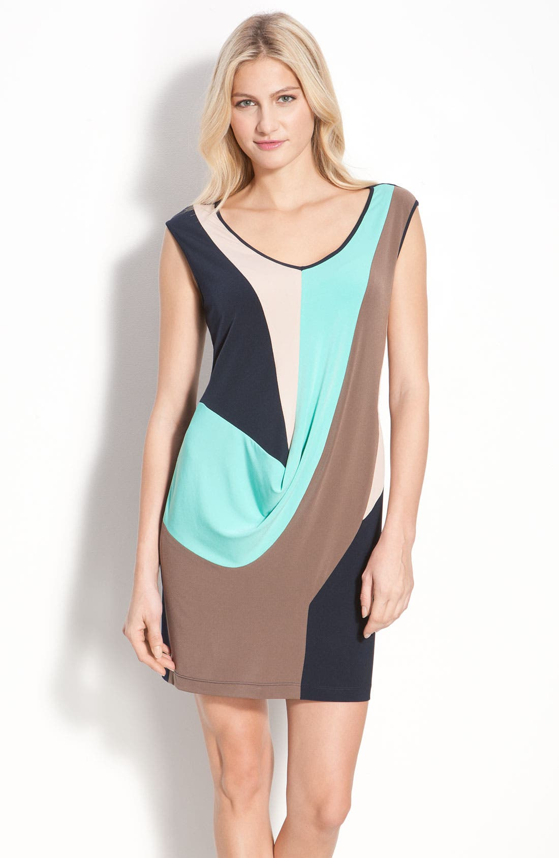 Main Image - Suzi Chin for Maggy Boutique Draped Colorblock Sheath Dress