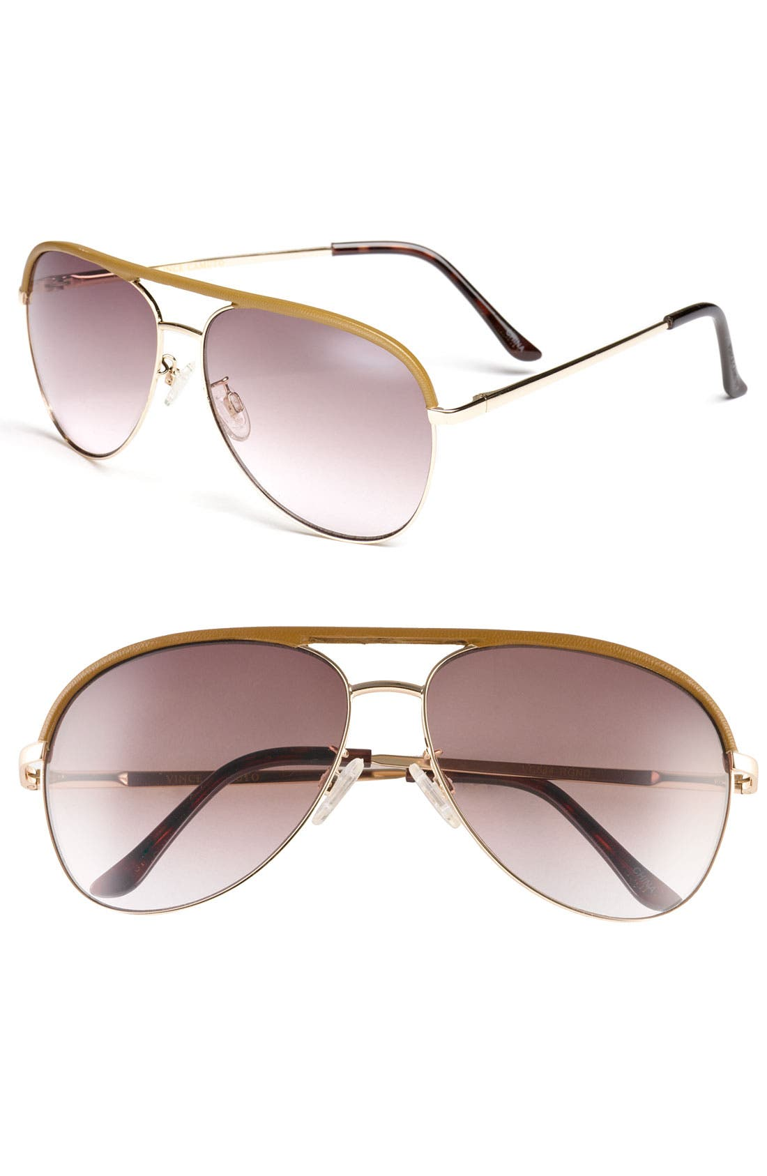 Main Image - Vince Camuto 60mm Metal & Leather Aviator Sunglasses