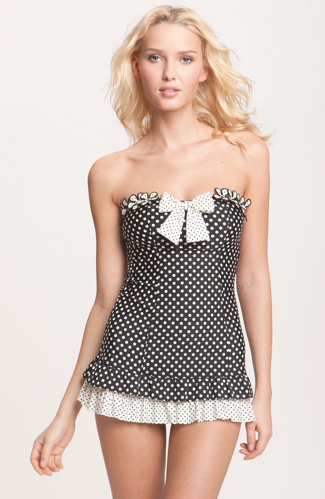 Alternate Image 1 Selected - Betsey Johnson 'Pinwheel' Skirted One Piece Swimsuit