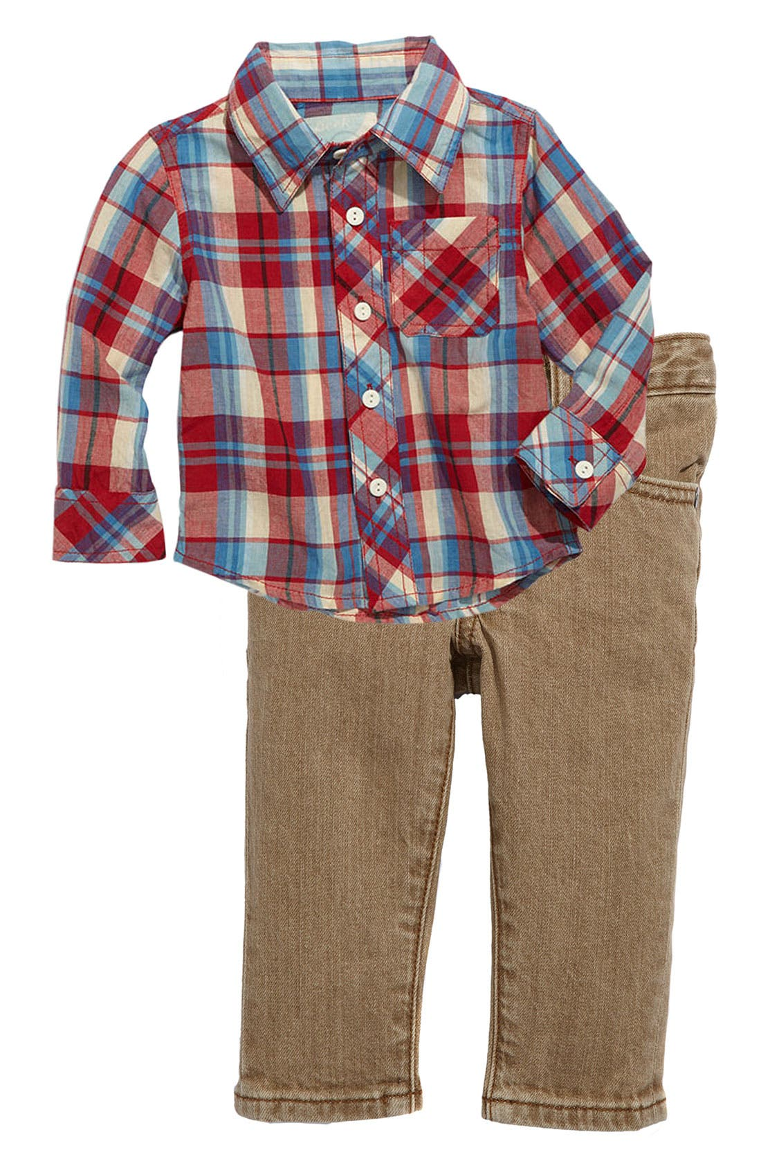 Alternate Image 1 Selected - Peek Plaid Shirt & Jeans (Infant)
