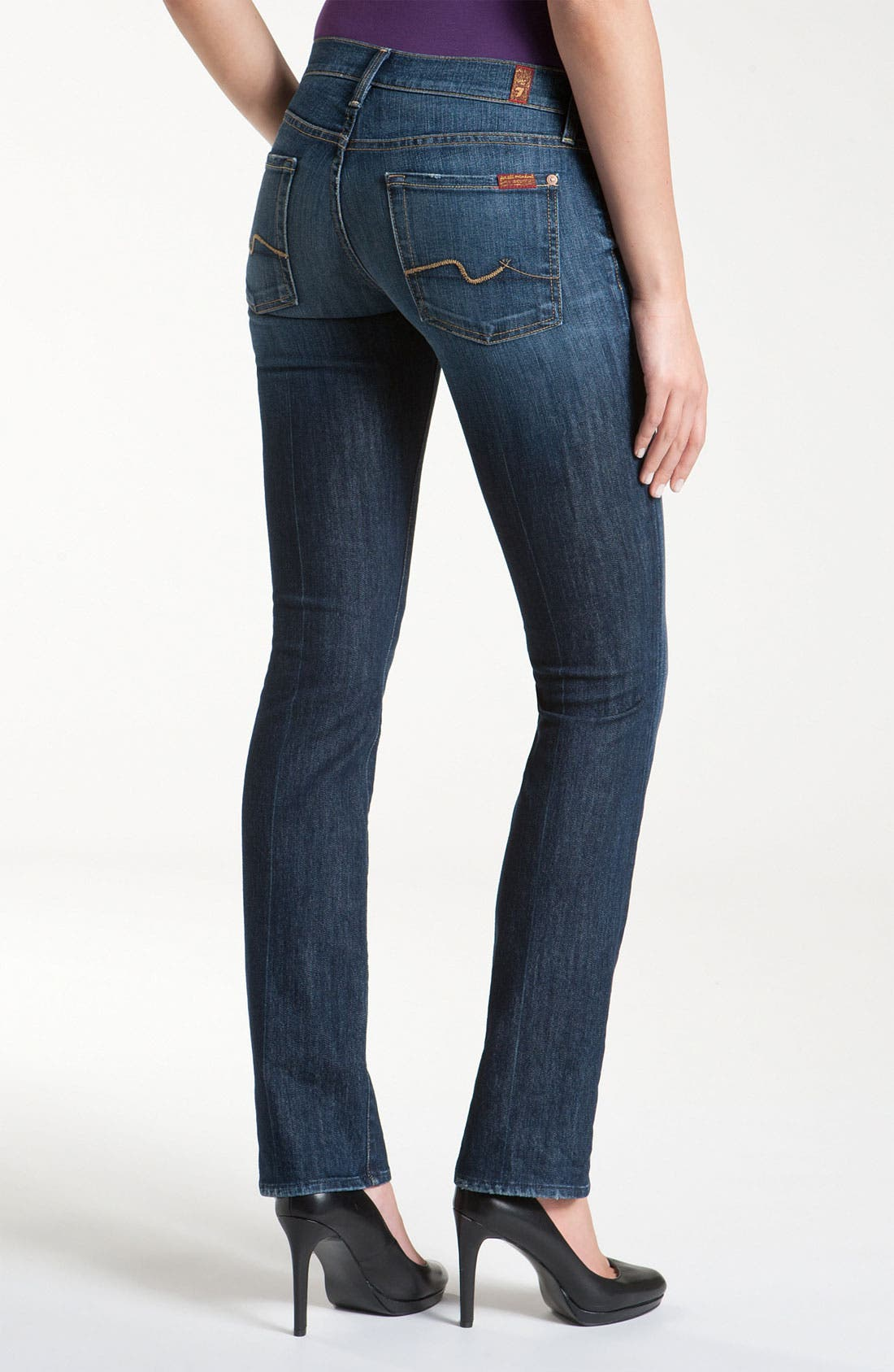 Alternate Image 2  - 7 For All Mankind® Straight Leg Jeans (Nouveau New York Dark)