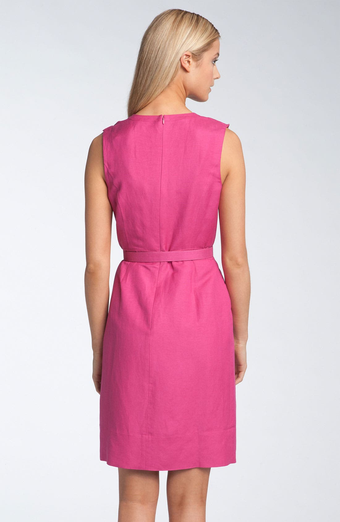 Alternate Image 2  - Tahari by Arthur S. Levine Sleeveless Ruffle Front Linen Dress
