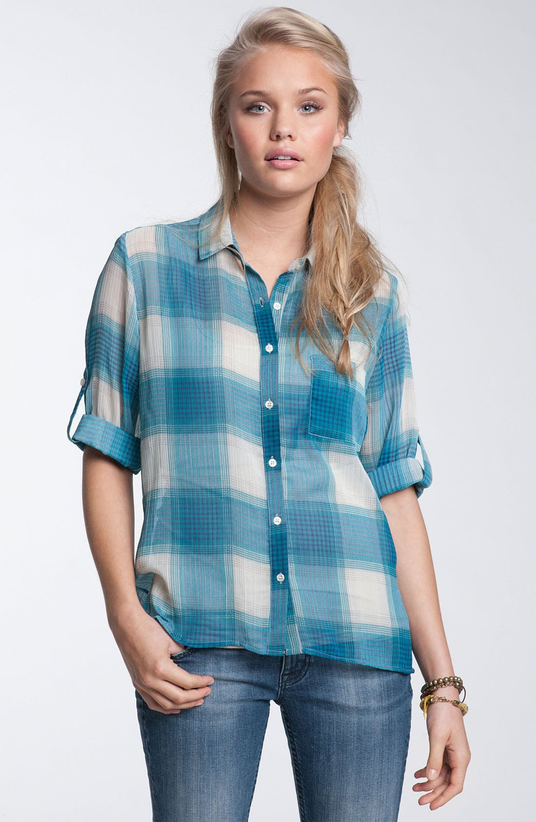 Alternate Image 1 Selected - Band of Gypsies Woven Plaid Shirt (Juniors)