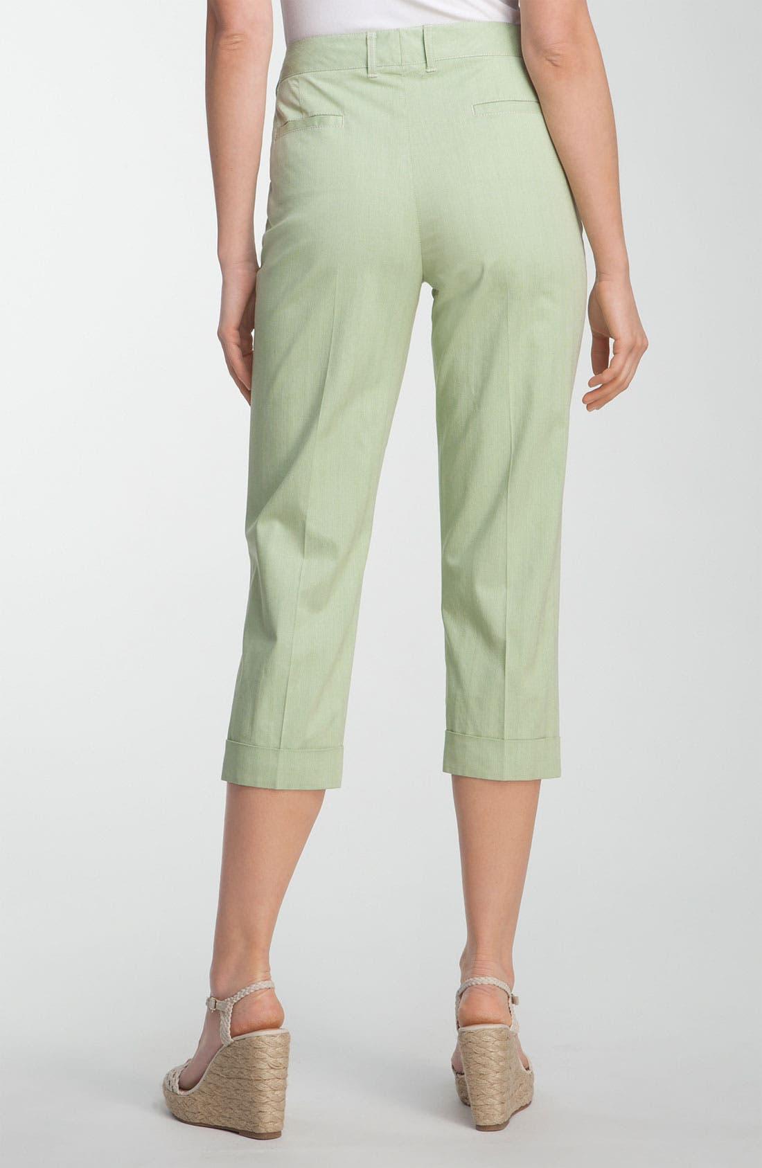 Alternate Image 2  - Lafayette 148 New York 'Static Stripe' Cuffed Crop Pants