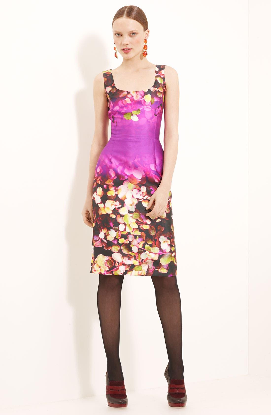 Main Image - Oscar de la Renta Leaf Print Silk & Cotton Dress