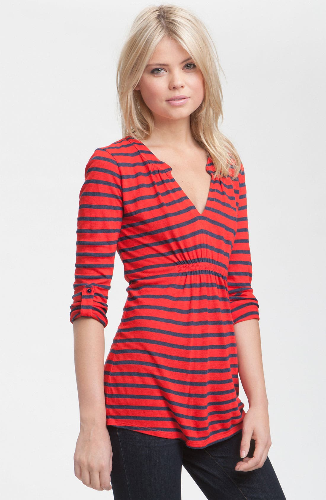 Alternate Image 1 Selected - Ella Moss Ruched Notch Neck Stripe Tunic