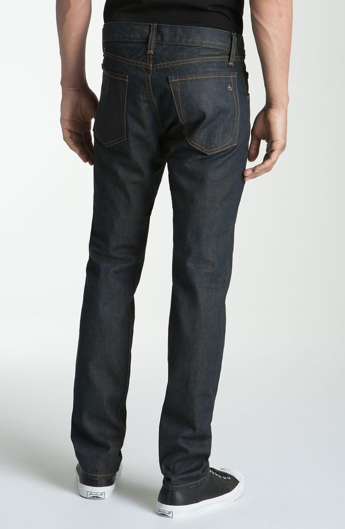 Alternate Image 1 Selected - rag & bone 'RB15X' Slim Straight Jeans (Olive One Year Wash)