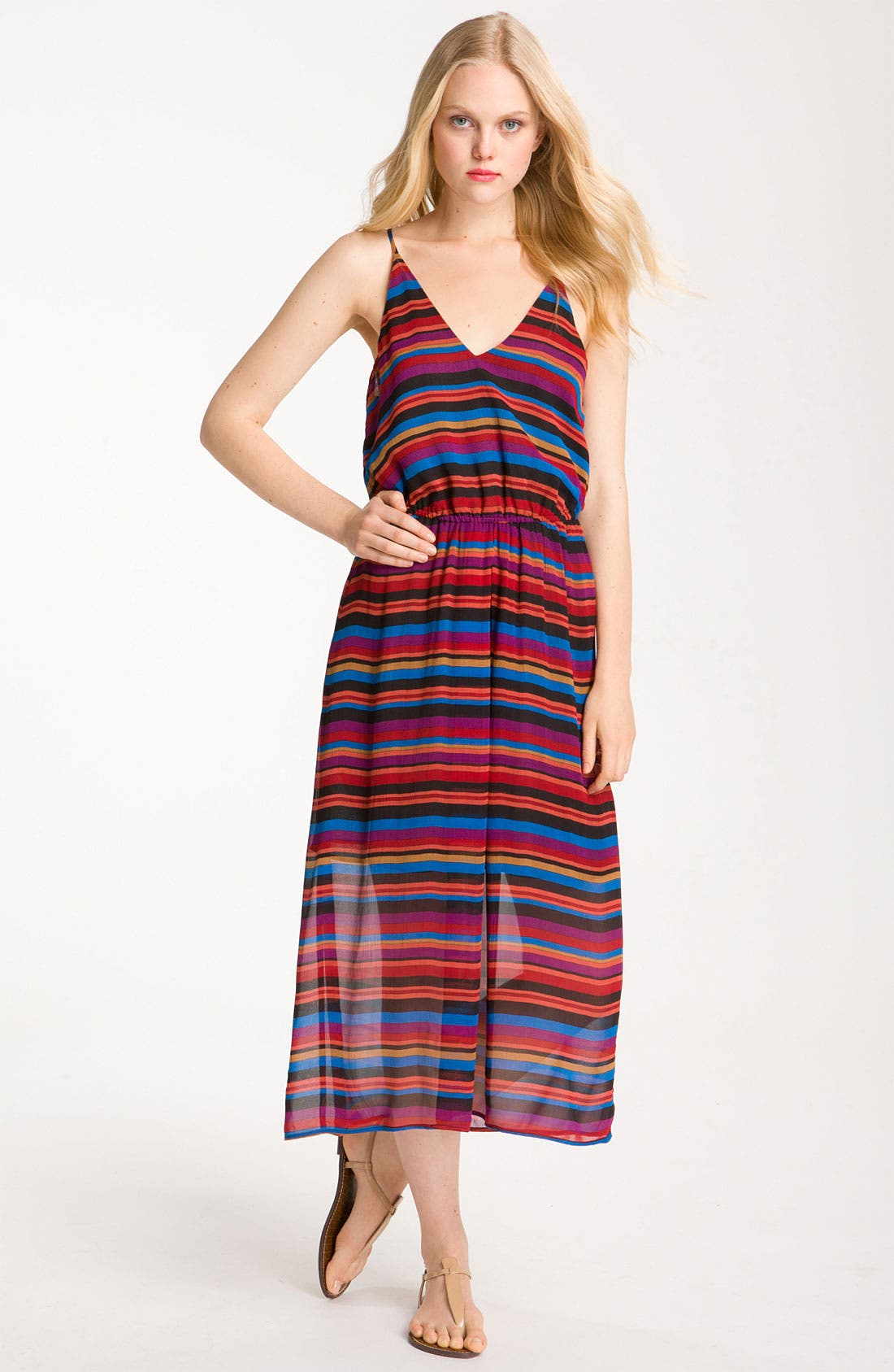 Main Image - Joie 'Jesbelle' Striped Silk Chiffon Midi Dress