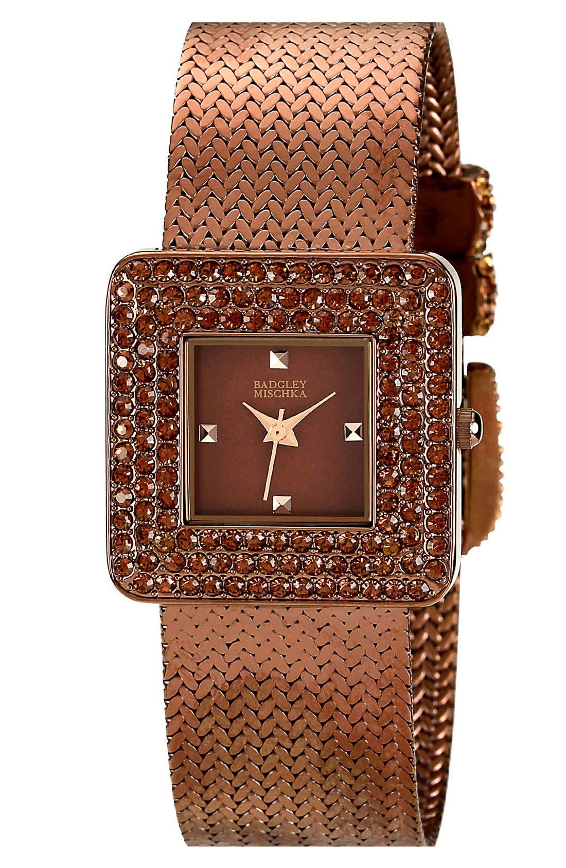 Alternate Image 1 Selected - Badgley Mischka Crystal Case Mesh Watch