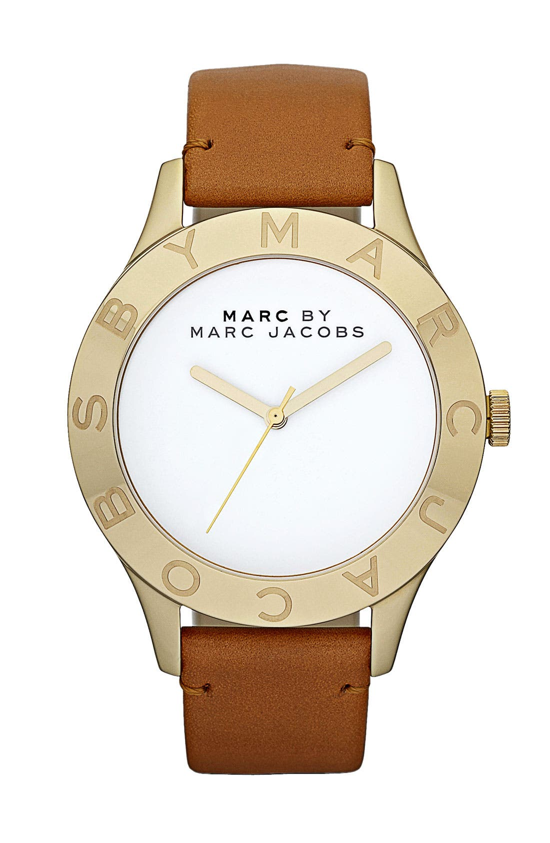 Main Image - MARC JACOBS 'Large Blade' Leather Strap Watch, 40mm