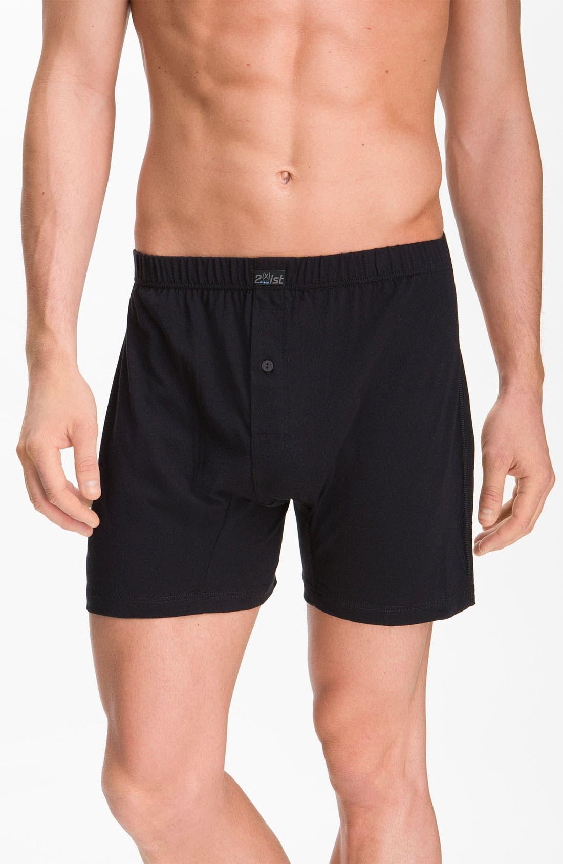 Main Image - 2-Xist Knit Pima Cotton Boxer Shorts