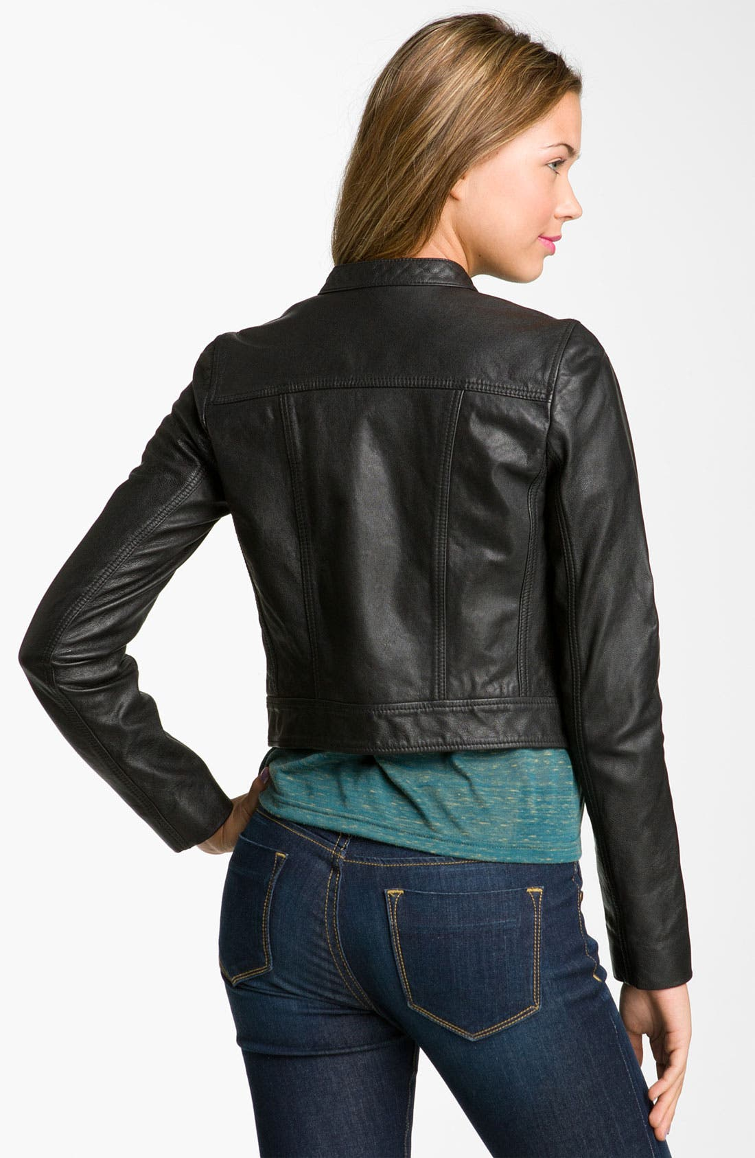 Alternate Image 2  - Rubbish® Crop Leather Biker Jacket (Juniors)